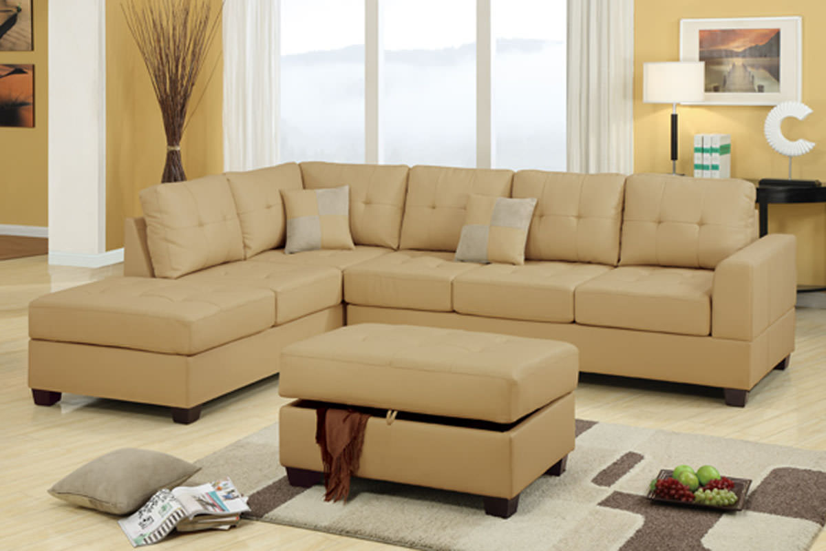 F7326 khaki sectional sofa set by poundex for Sectional sofa set