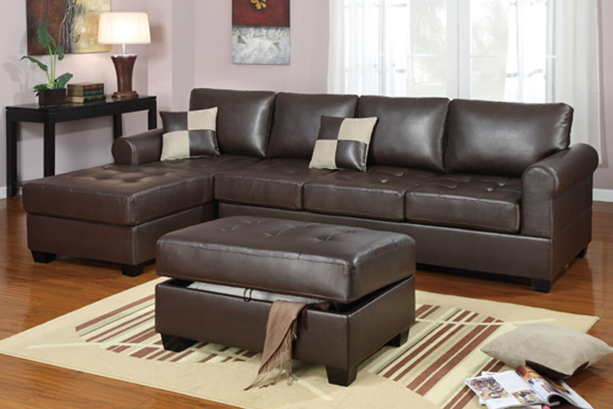 F7329 Dark Brown Sectional Sofa Set by Poundex