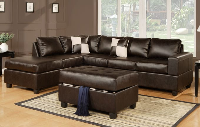 Outstanding F7351 Espresso Sectional Sofa Set By Poundex Ibusinesslaw Wood Chair Design Ideas Ibusinesslaworg
