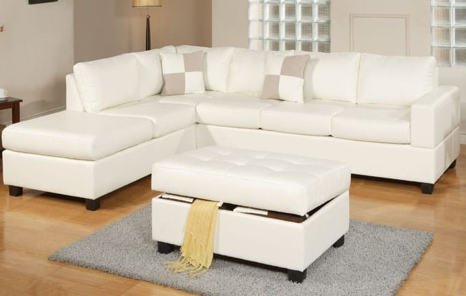 F7354 Cream Sectional Sofa Set By Poundex
