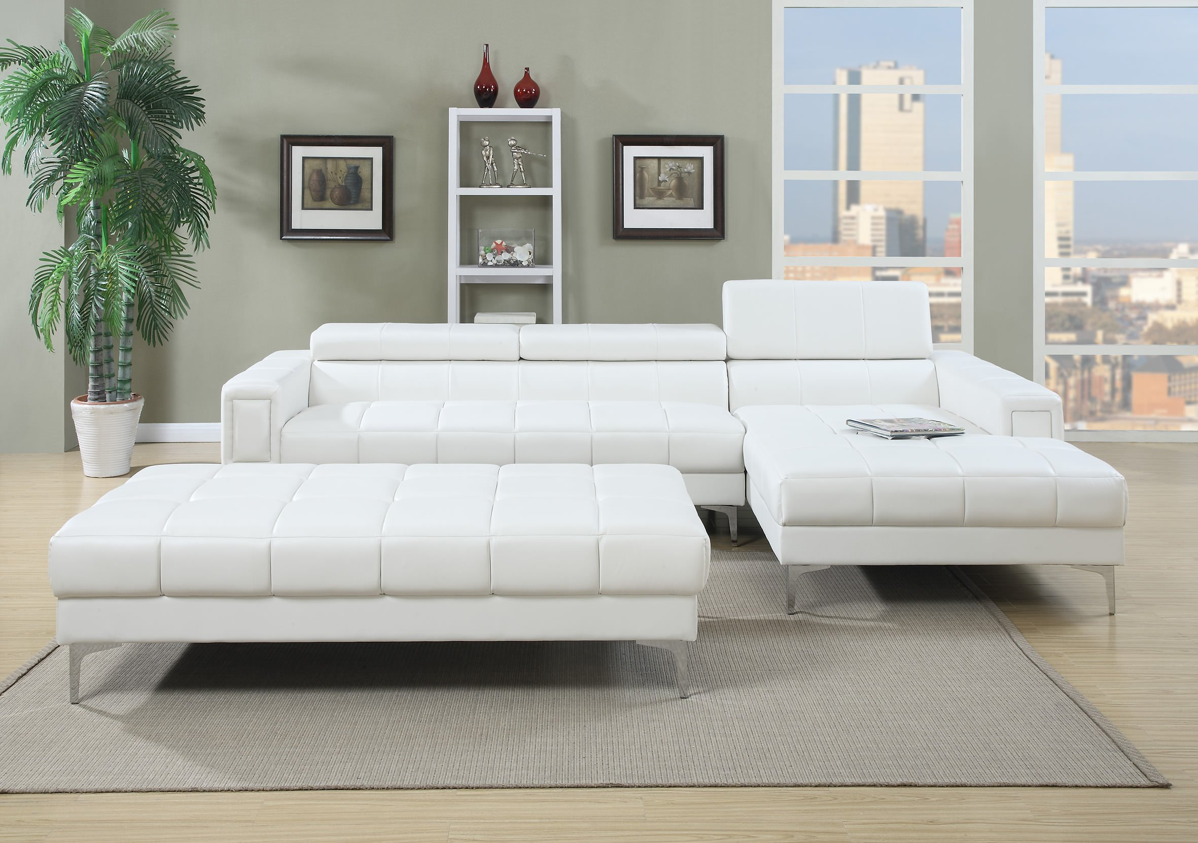 F7364 White 2 Pcs Sectional Sofa By Poundex