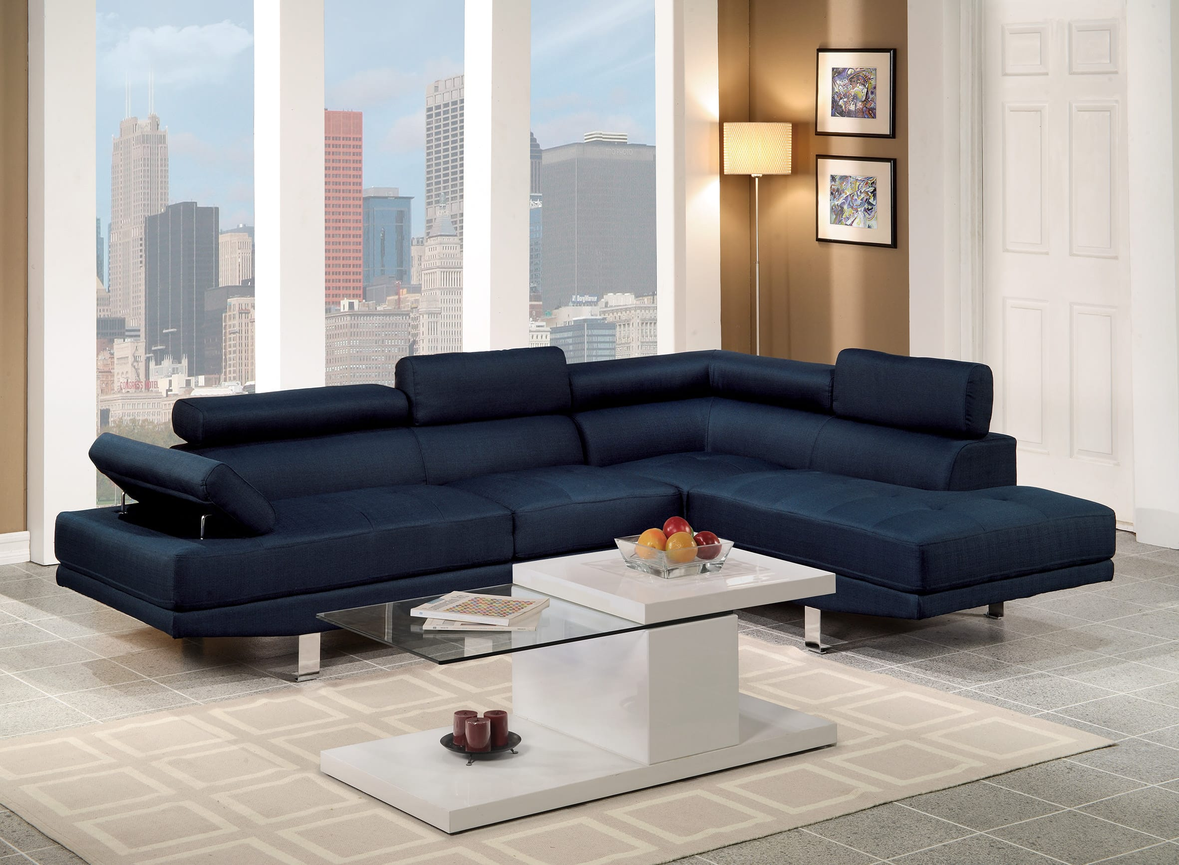 F7569 Blue Sectional Sofa By Poundex
