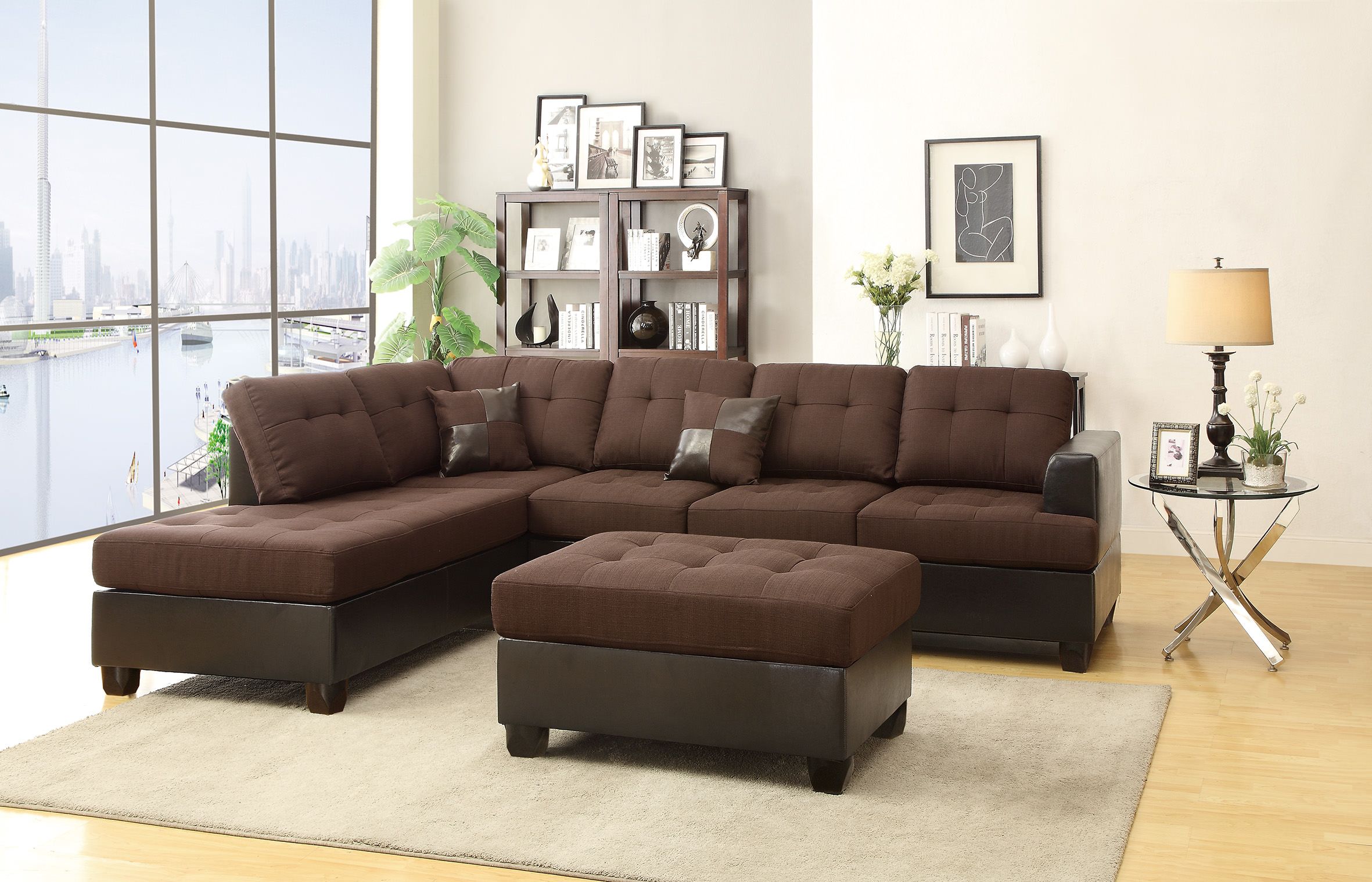 Amazing F7602 Chocolate 2 Pcs Sectional Sofa Set By Poundex Ocoug Best Dining Table And Chair Ideas Images Ocougorg