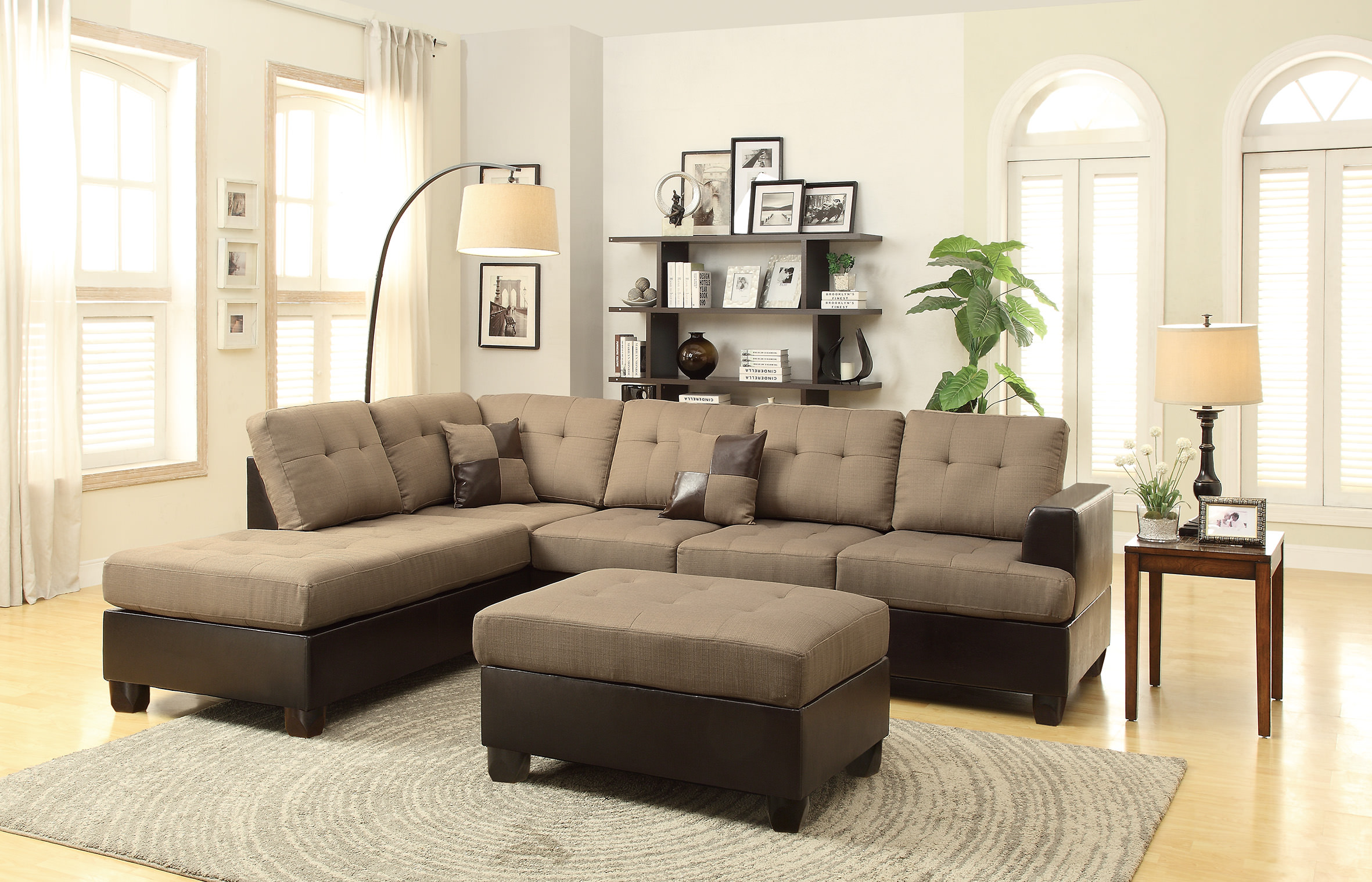 F7603 tan 2 pcs sectional sofa set by poundex for L shaped couch name