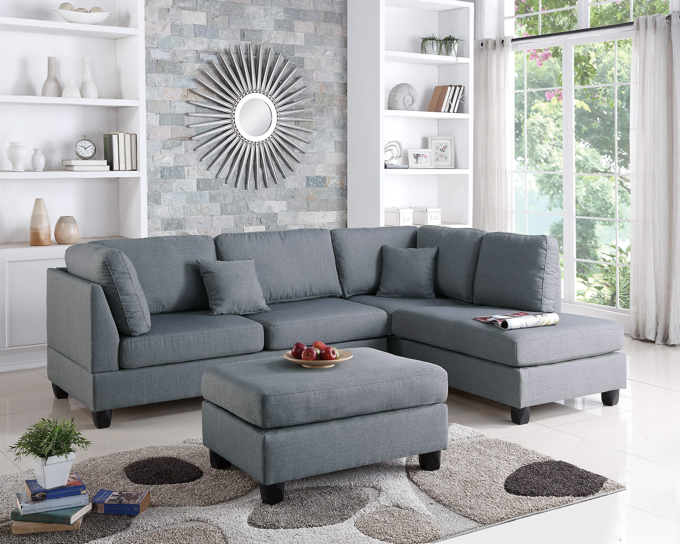 Astonishing F7606 Gray 2 Pcs Sectional Sofa Set By Poundex Inzonedesignstudio Interior Chair Design Inzonedesignstudiocom
