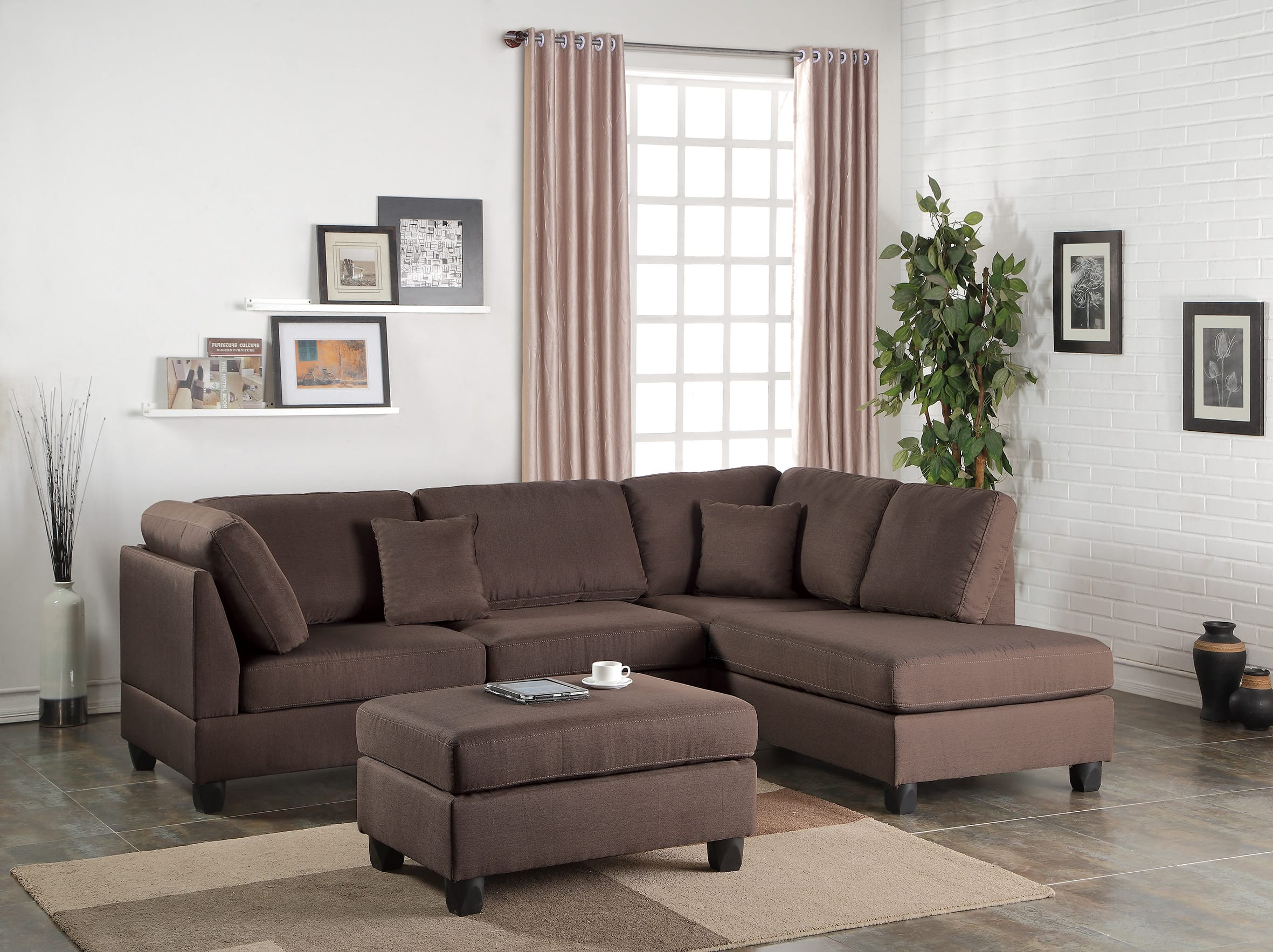 Brilliant F7608 Chocolate 2 Pcs Sectional Sofa Set By Poundex Inzonedesignstudio Interior Chair Design Inzonedesignstudiocom