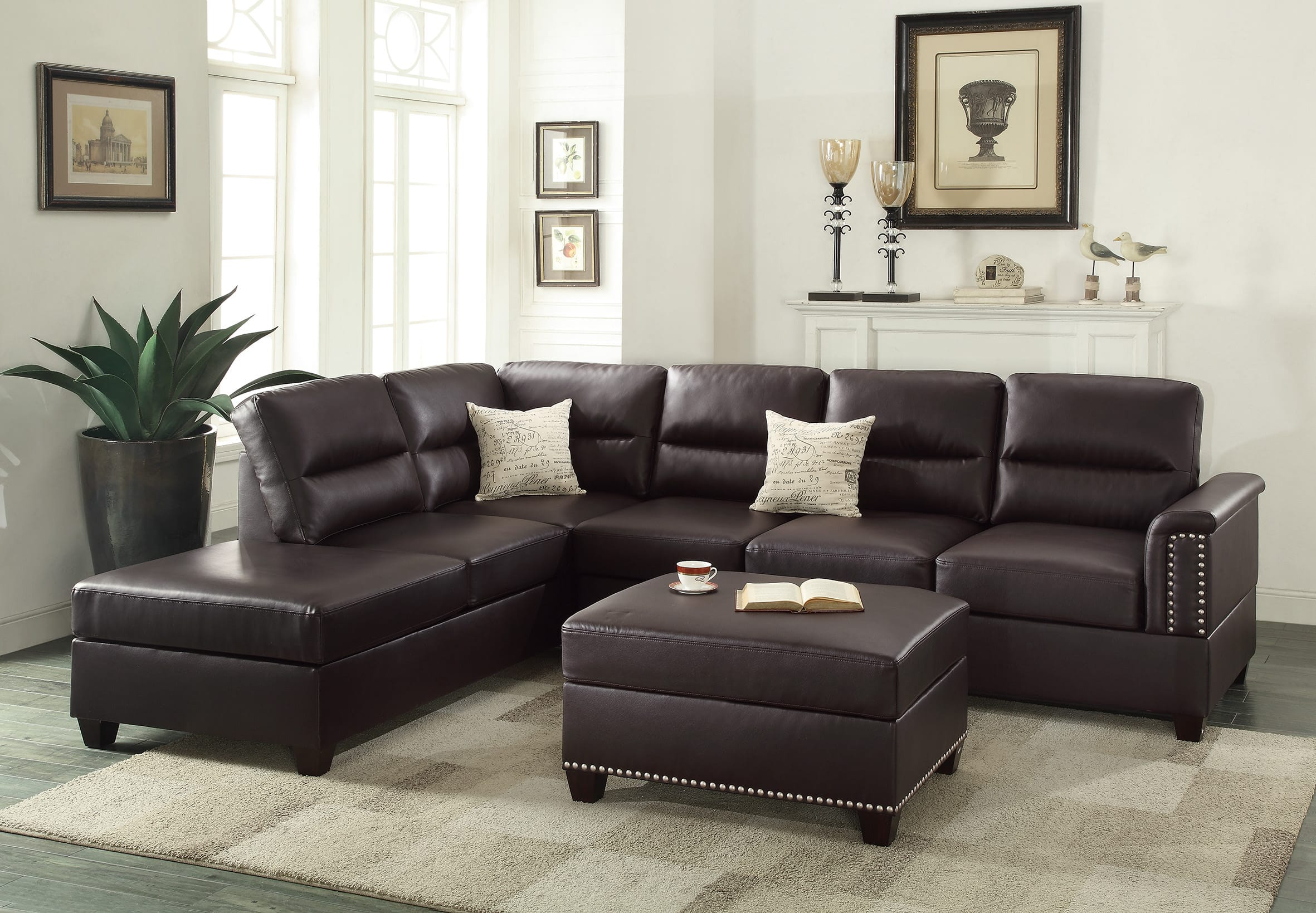 Enjoyable F7609 Espresso 2 Pcs Sectional Sofa Set By Poundex Inzonedesignstudio Interior Chair Design Inzonedesignstudiocom
