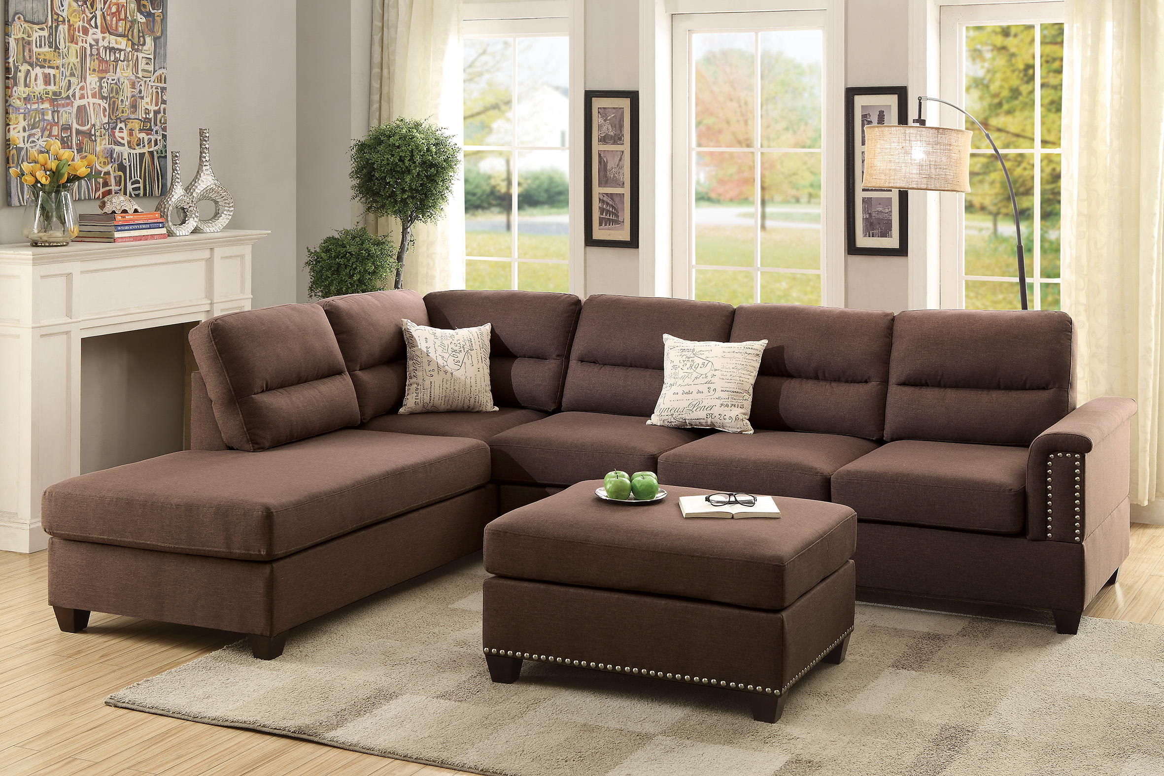Awe Inspiring F7613 Chocolate Sectional Sofa Set By Poundex Creativecarmelina Interior Chair Design Creativecarmelinacom