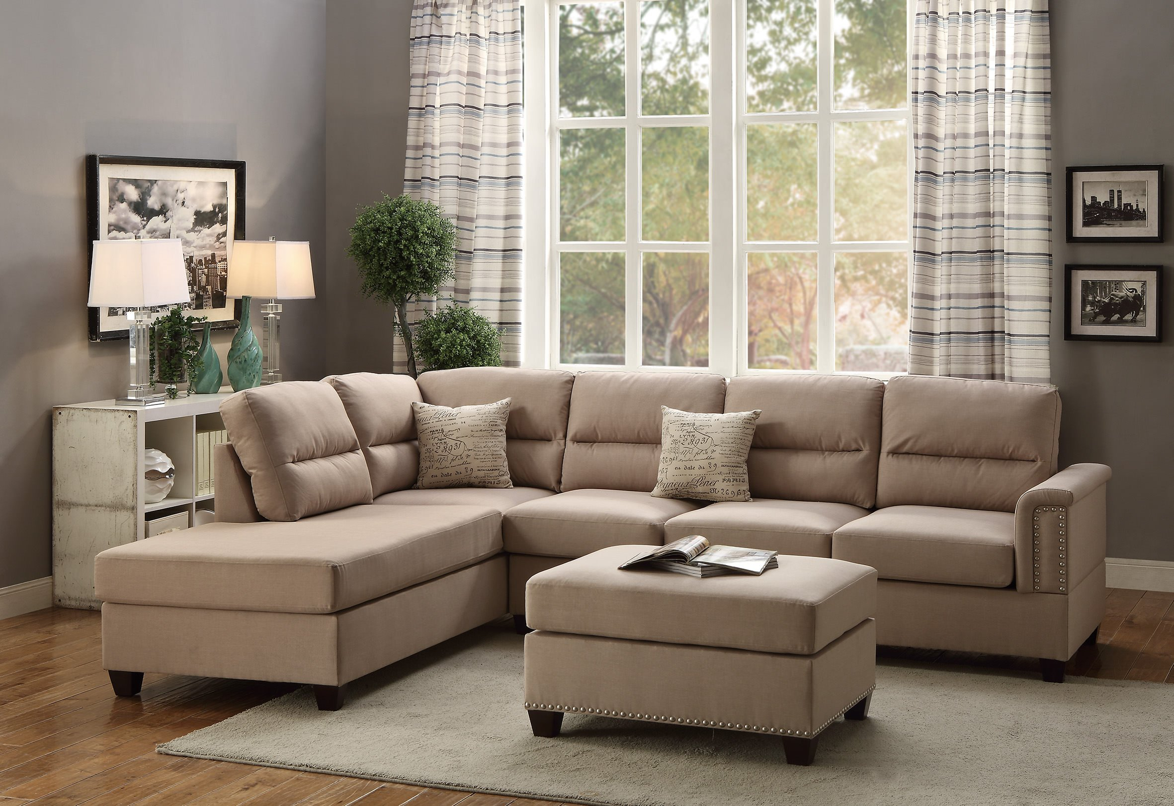 F7614 sand 2 pcs sectional sofa set by poundex for Sectional sofa names