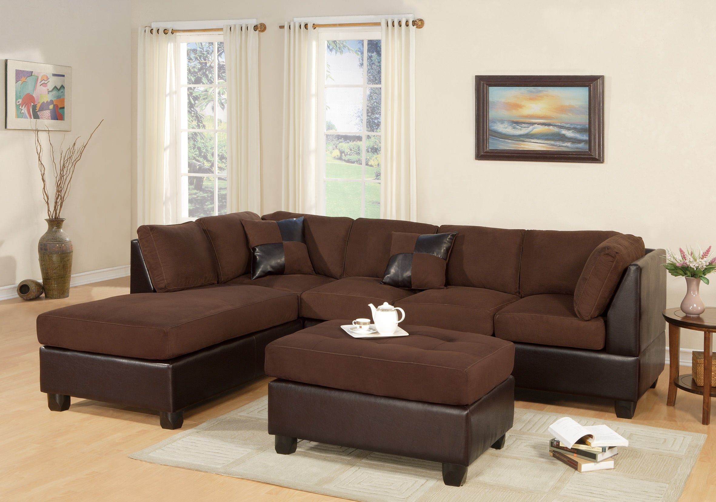 Strange F7615 Chocolate 2 Pcs Sectional Sofa Set By Poundex Inzonedesignstudio Interior Chair Design Inzonedesignstudiocom
