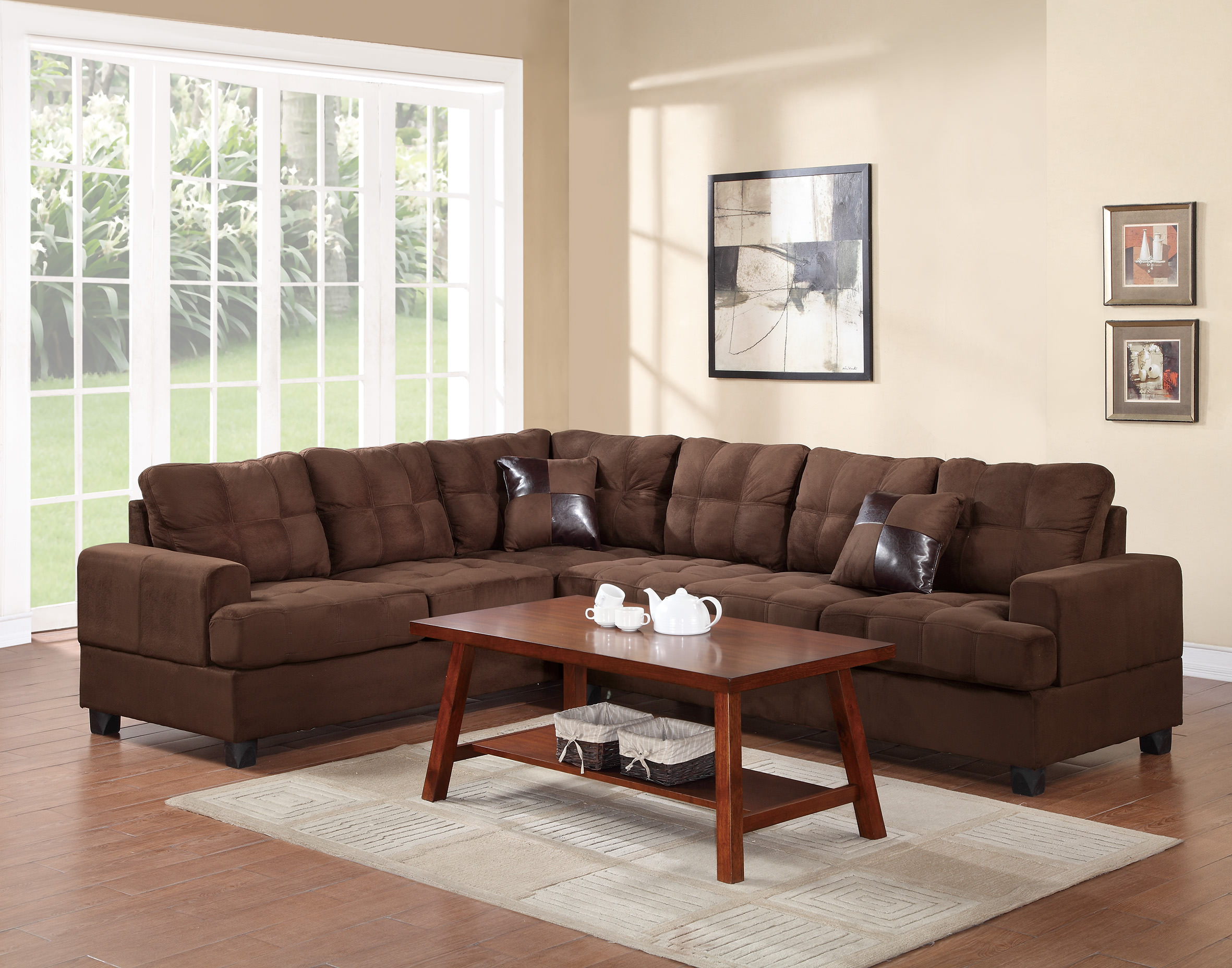 F7627 chocolate sectional sofa by poundex for Sectional sofa names
