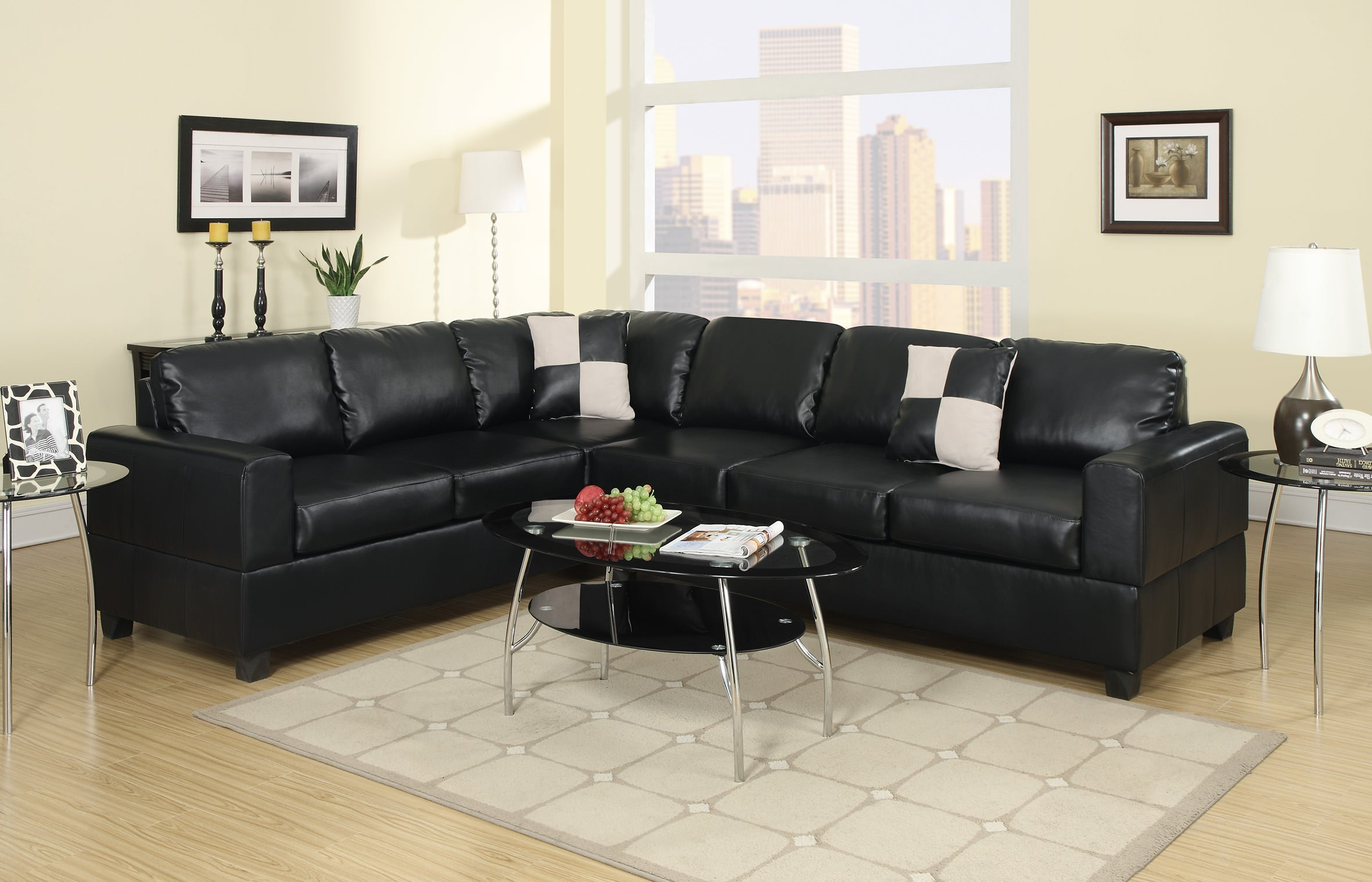 F7630 Black Sectional Sofa by Poundex