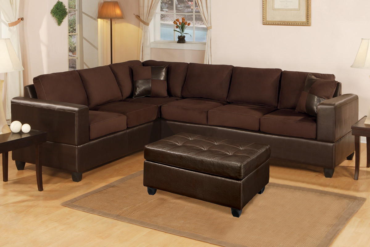 F7631 Chocolate Sectional Sofa Set By Poundex