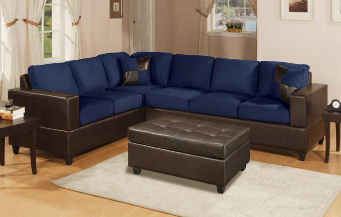 f7637 navy blue sectional sofa set by poundex