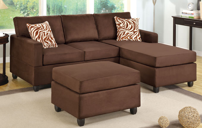 f7661 chocolate sectional sofa set by poundex