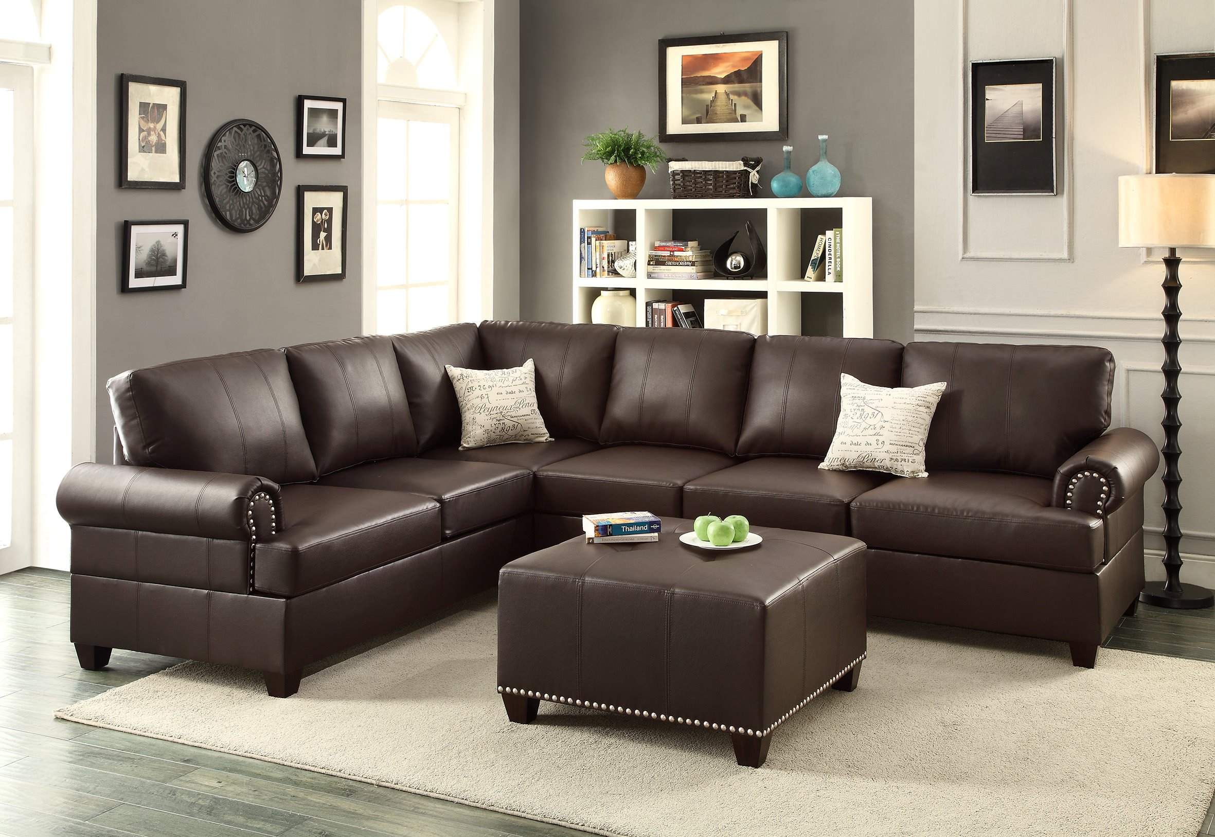 f7770 espresso 2 pcs sectional sofa by poundex With 2 pcs sectional sofa by poundex