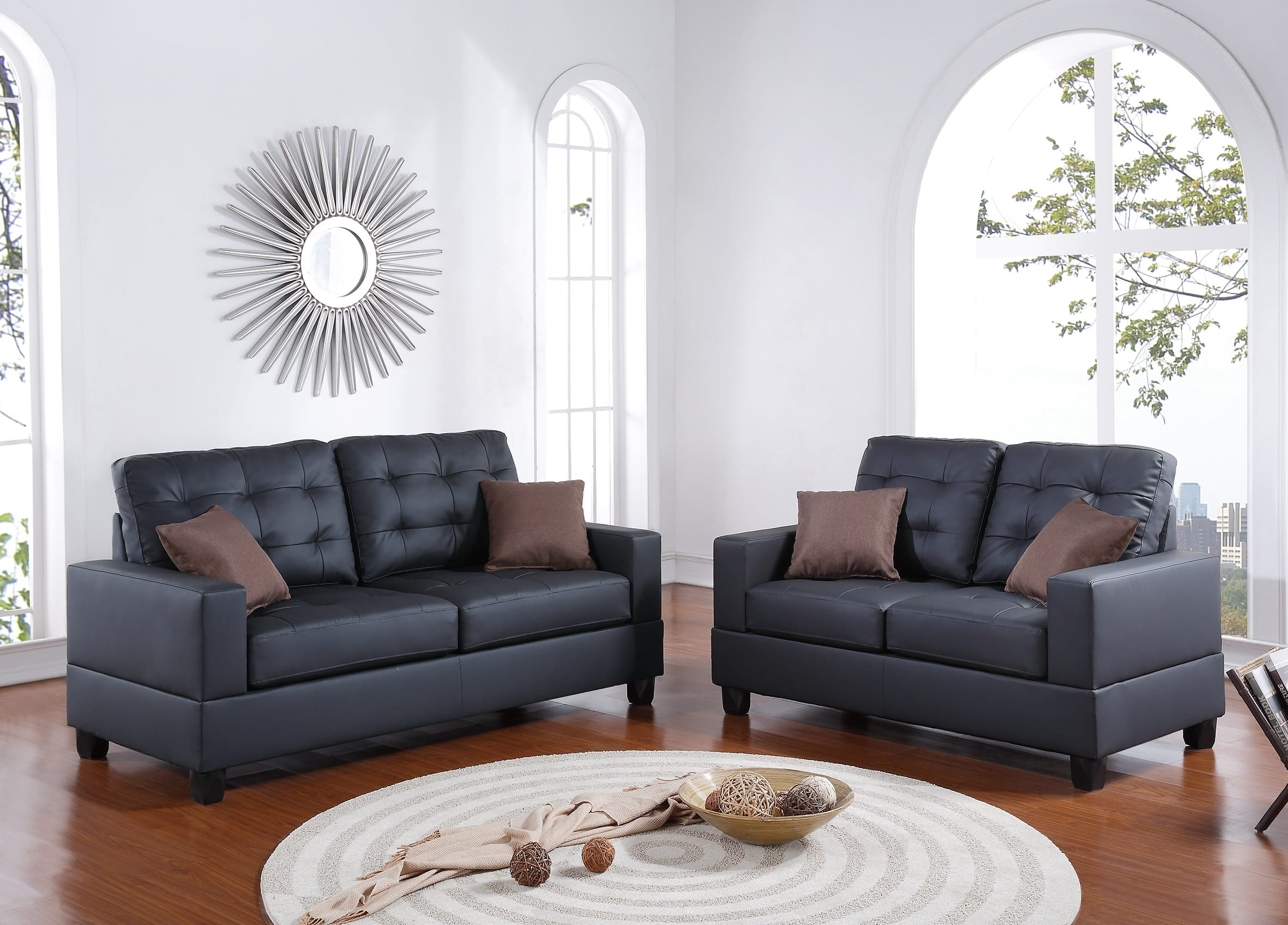 F7855 Black 2 Pcs Sofa Set By Poundex