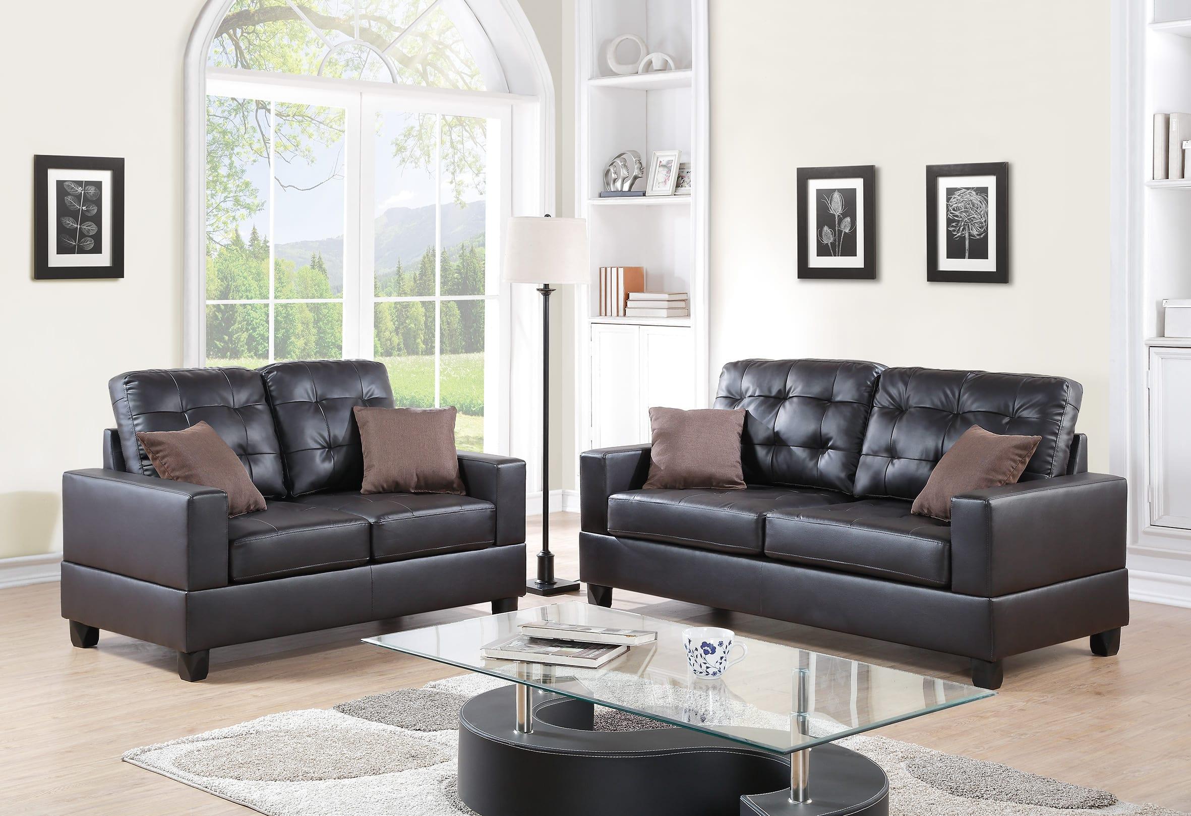 F7857 Espresso 2 Pcs Sofa Set By Poundex