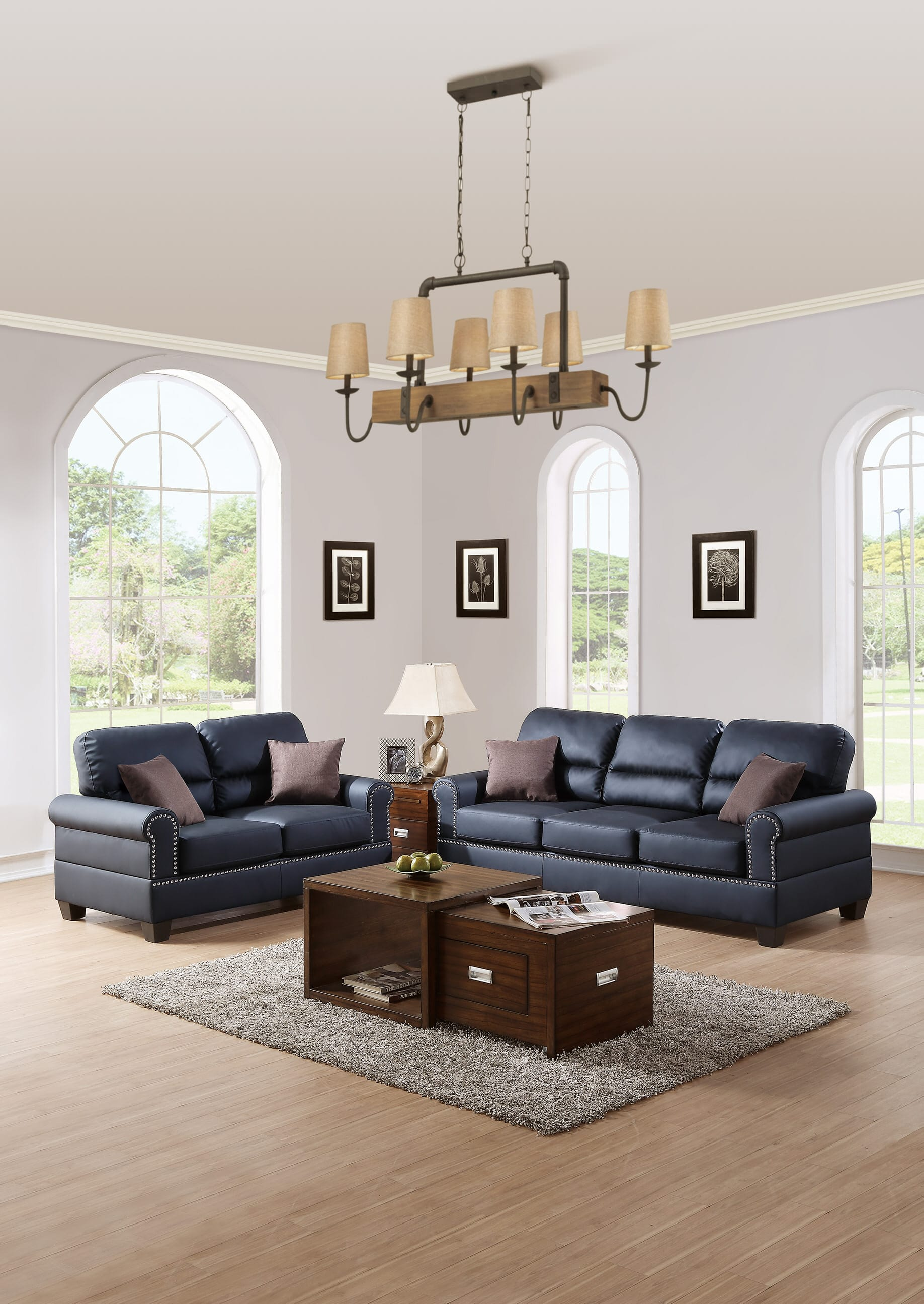 F7877 Black 2 Pcs Sofa Set by Poundex
