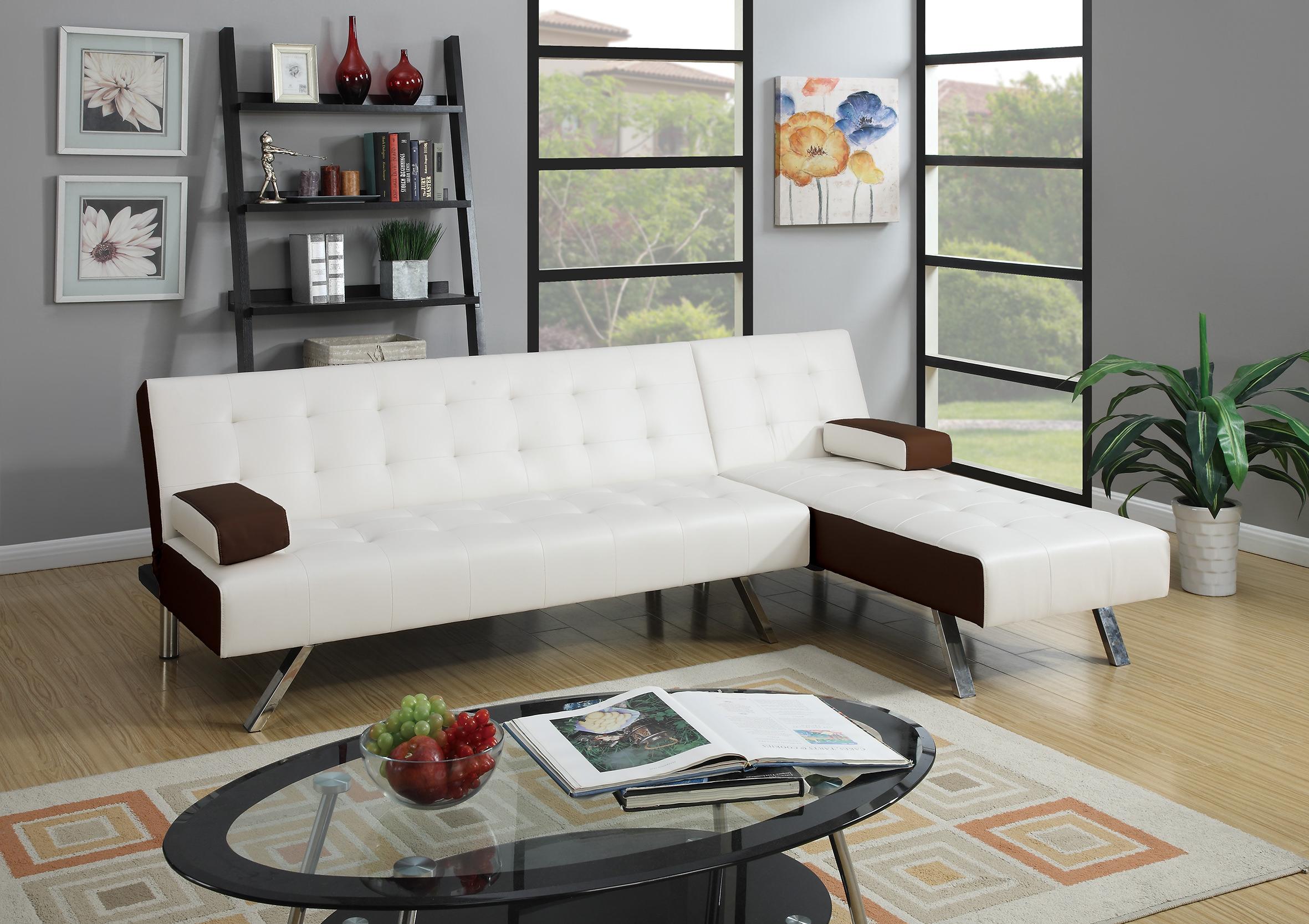 F7887 White 2 Pcs Convertible Sectional Sofa Set by Poundex