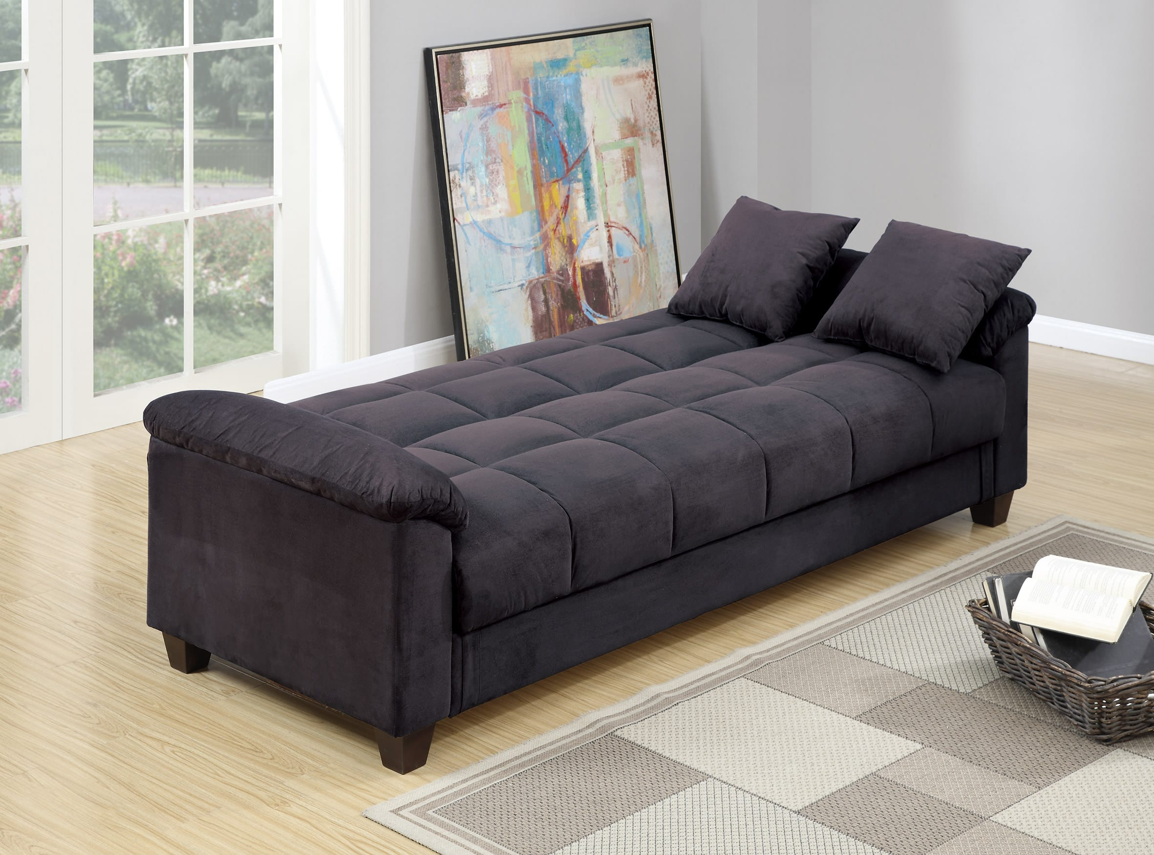 F7888 Ebony Convertible Sofa Bed by Poundex