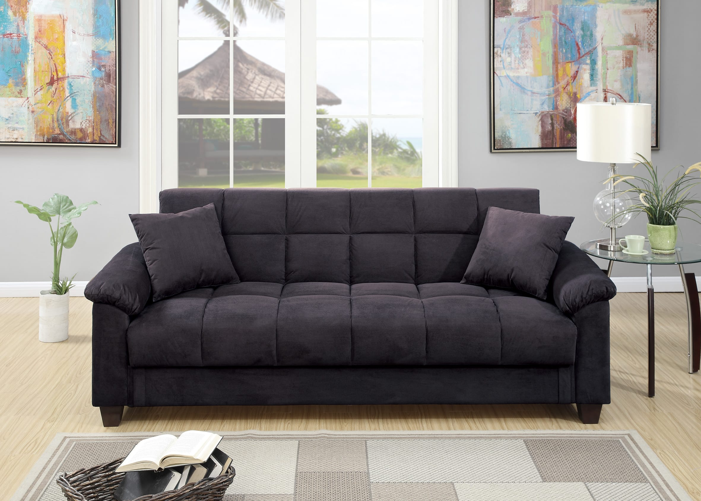 F7888 ebony convertible sofa bed by poundex for Divan convertible