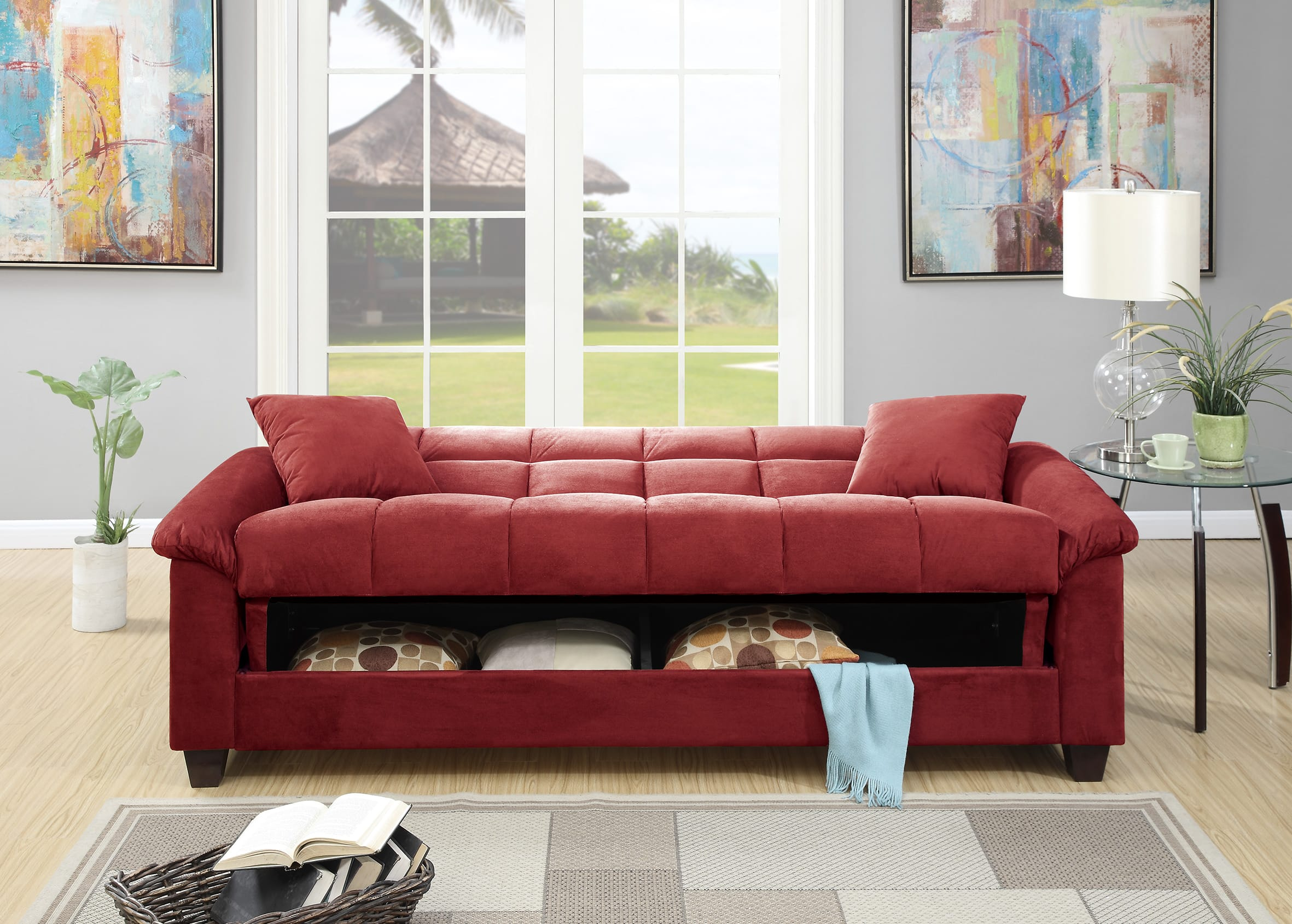F7890 Red Convertible Sofa Bed by Poundex