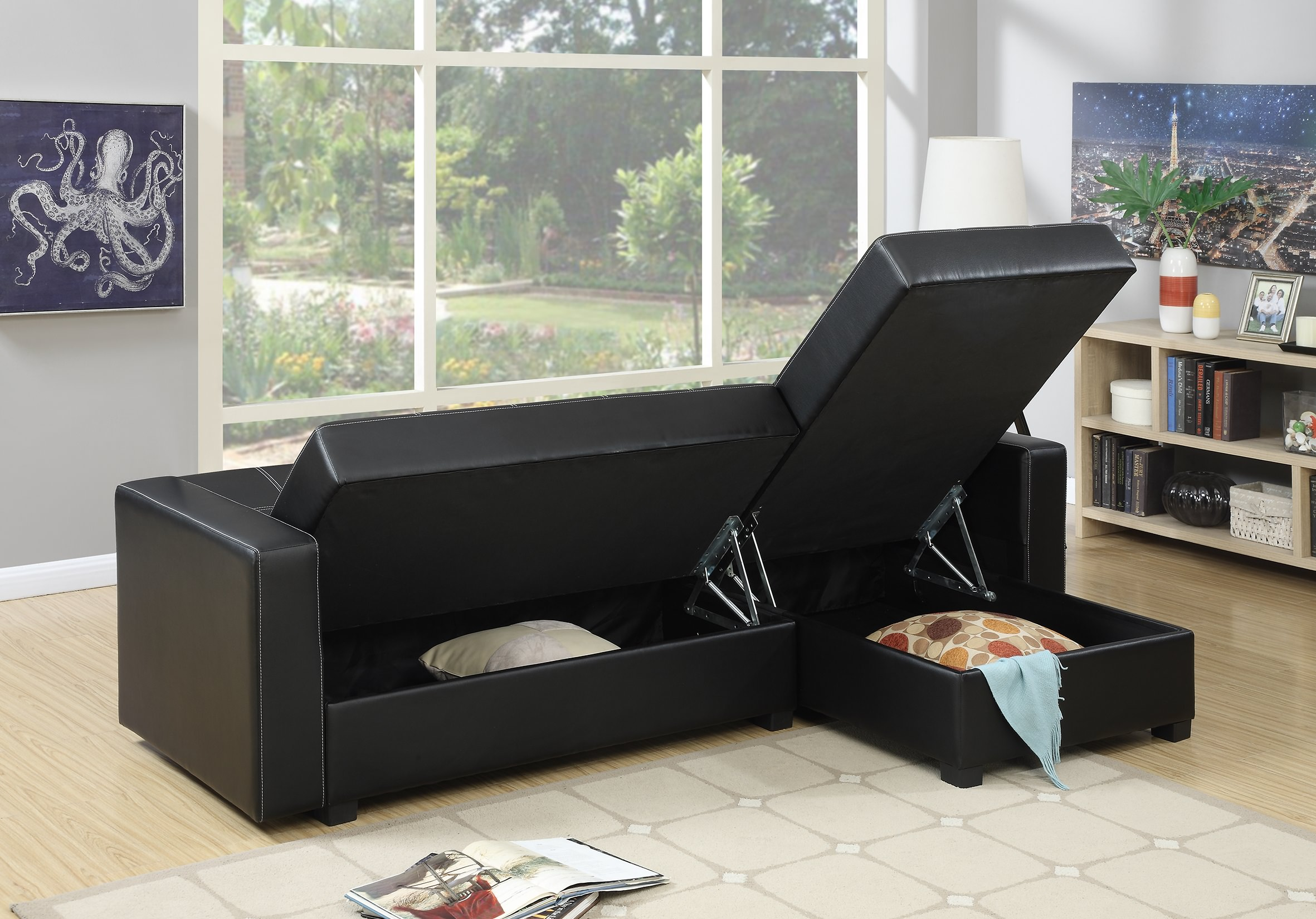 F7894 Black Reversible Chaise Adjustable Sofa by Poundex