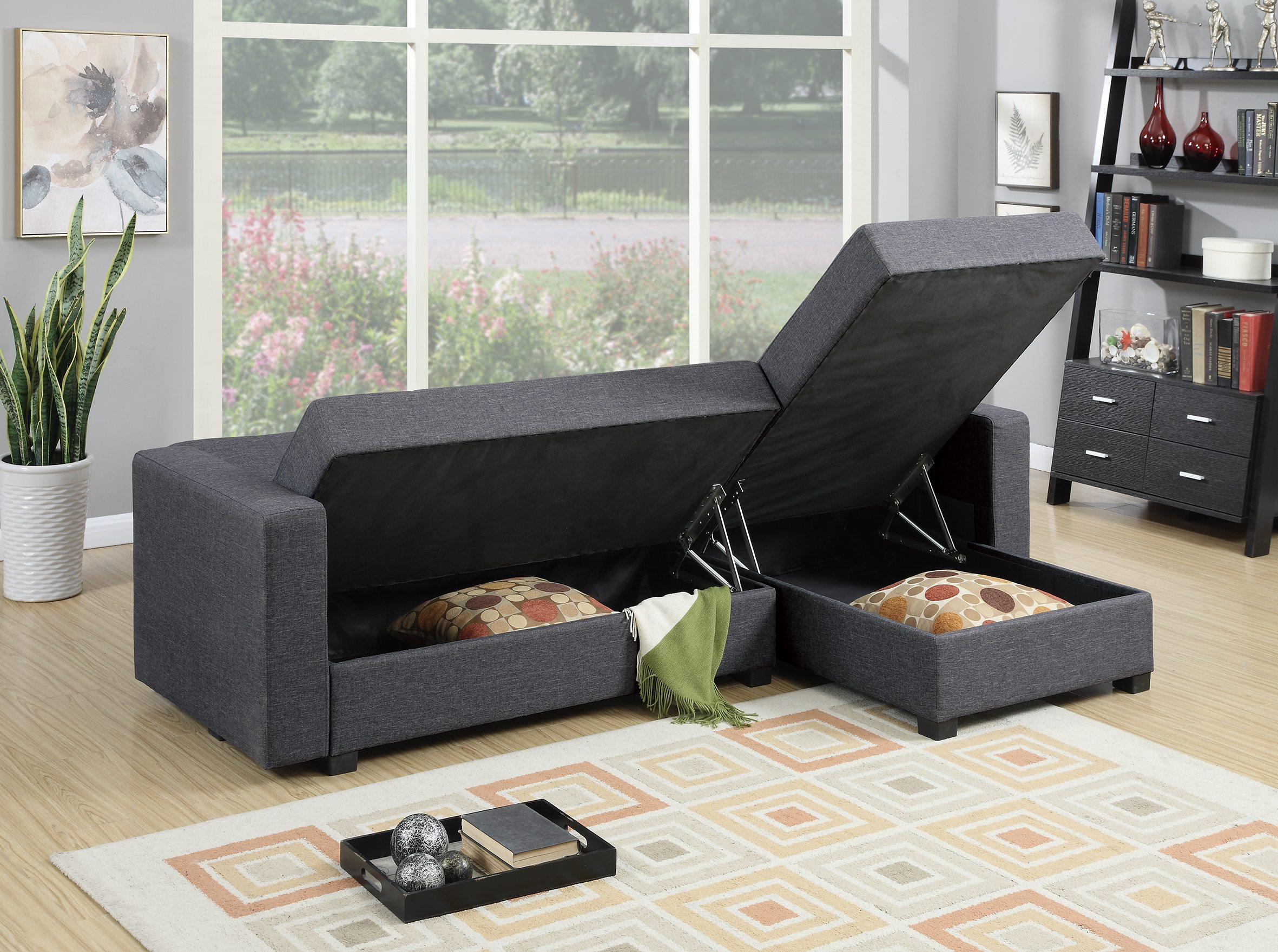 F7896 Gray Reversible Chaise Sectional Sofa by Poundex