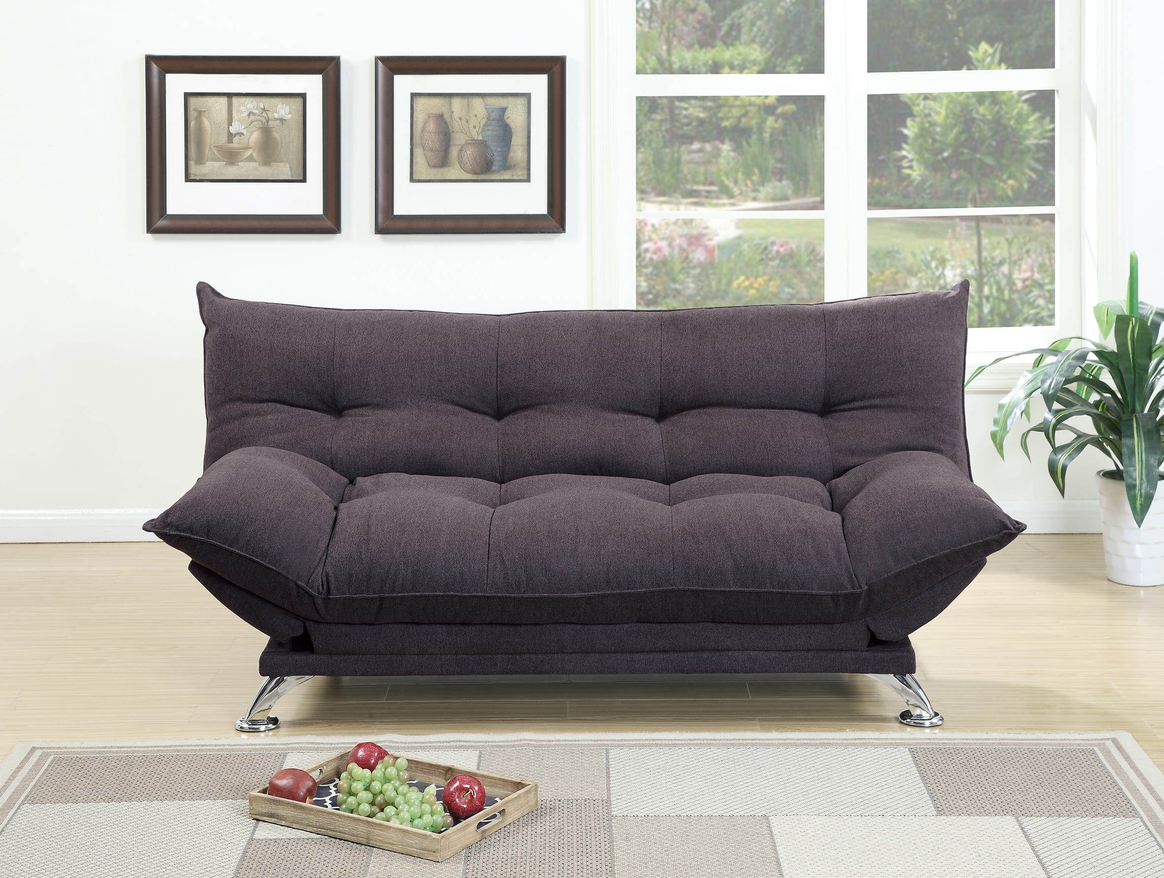 F7897 Dark Coffee Convertible Sofa Bed by Poundex