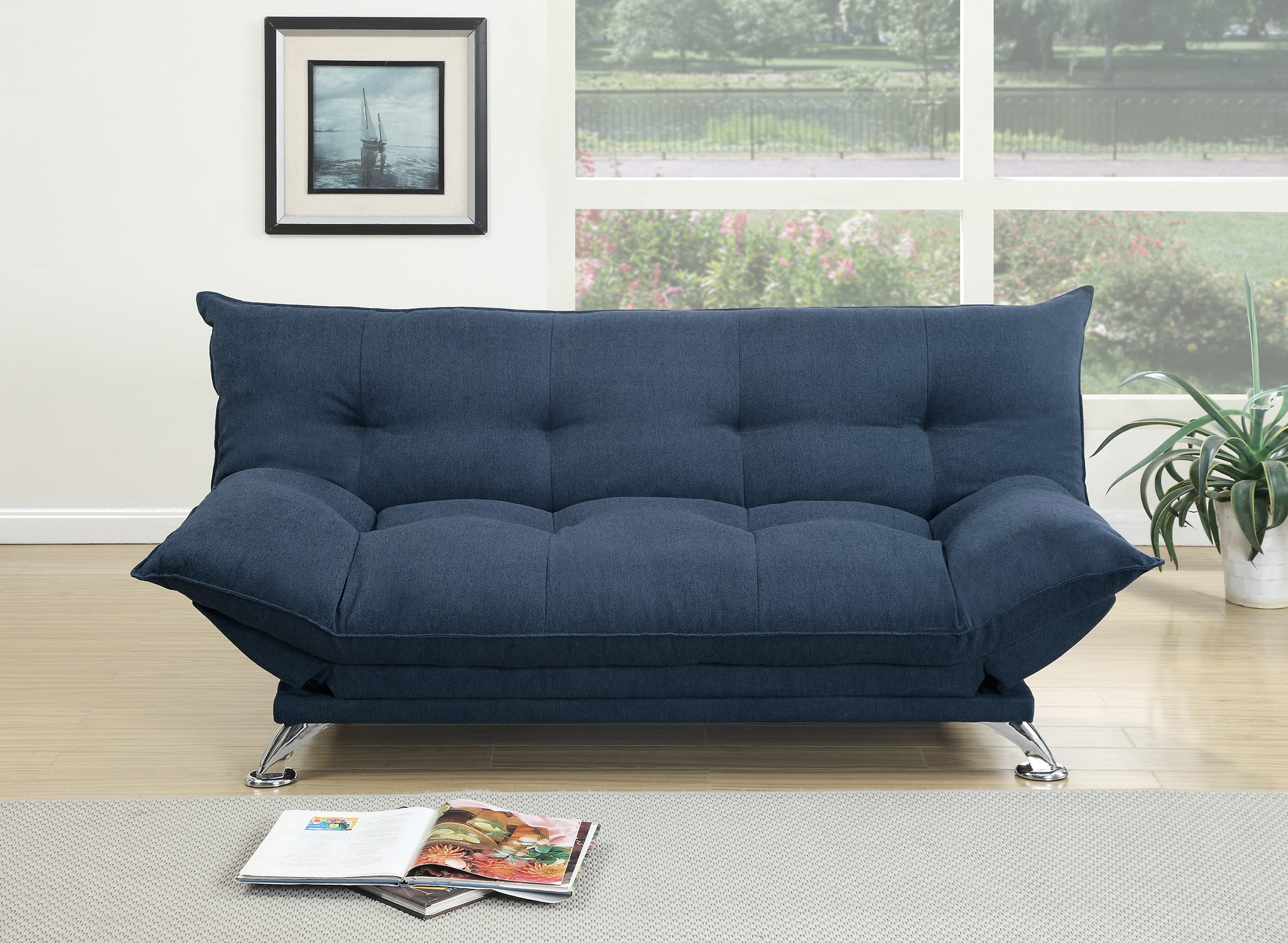 new styles 65cc6 5162d F7899 Navy Convertible Sofa Bed by Poundex