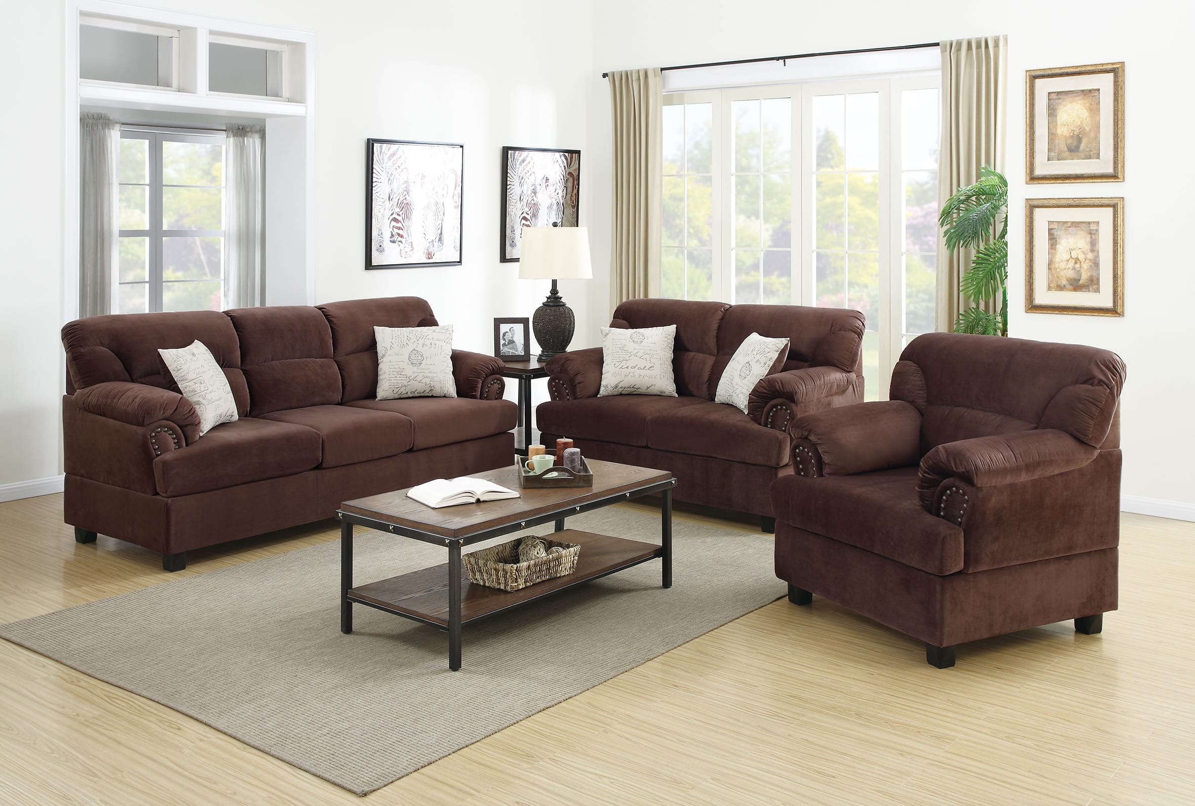 Excellent F7915 Chocolate 3 Pcs Sofa Set By Poundex Theyellowbook Wood Chair Design Ideas Theyellowbookinfo
