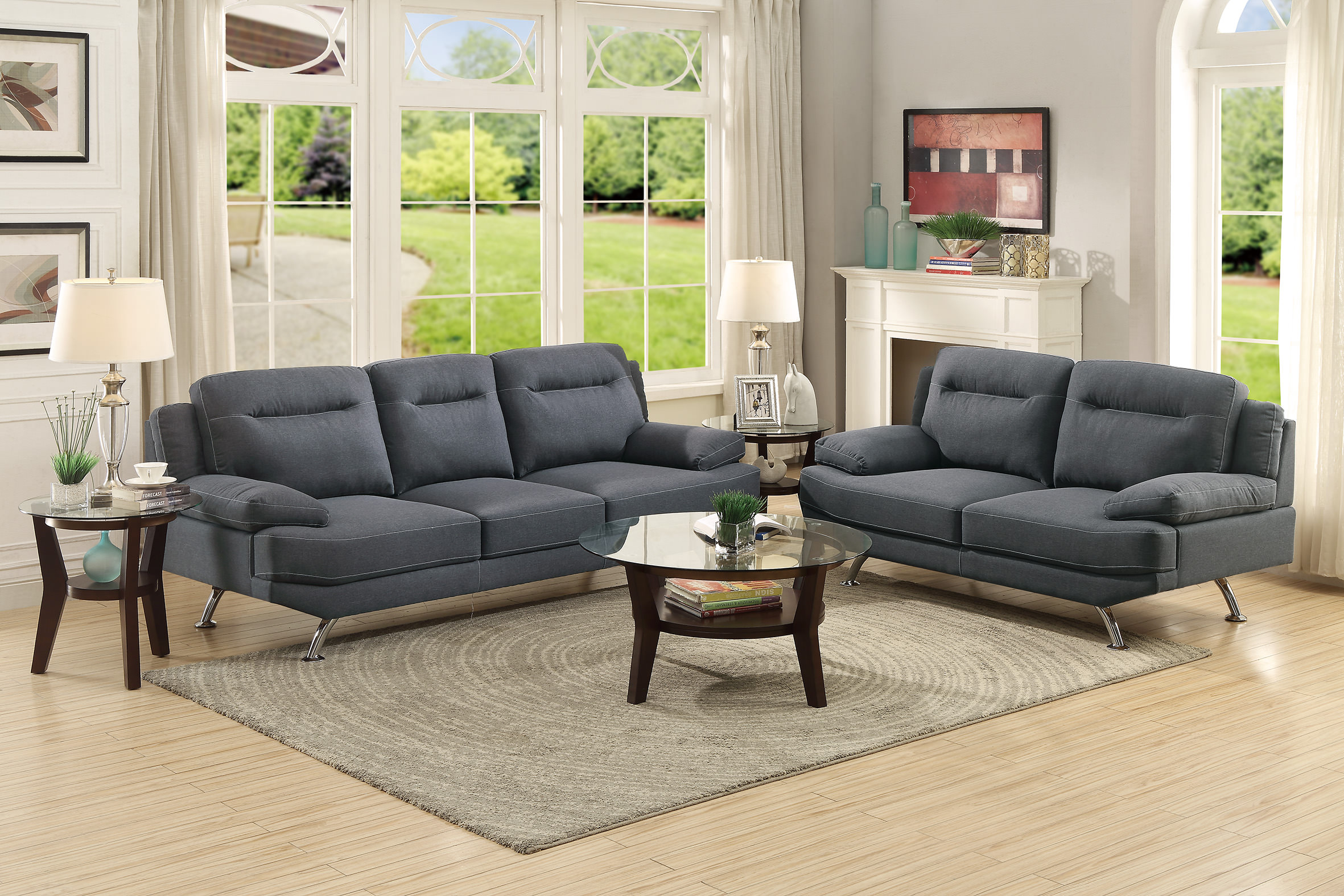 F7929 blue gray 2 pcs sofa set by poundex for Blue gray sofa