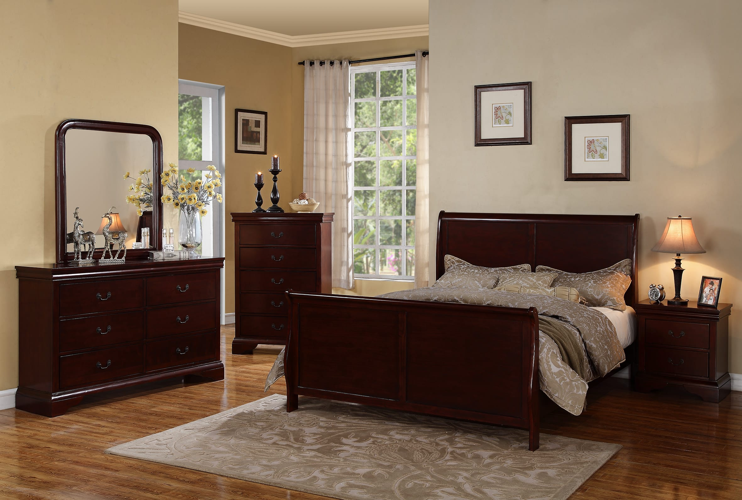 F9231 Dark Cherry Bed by Poundex