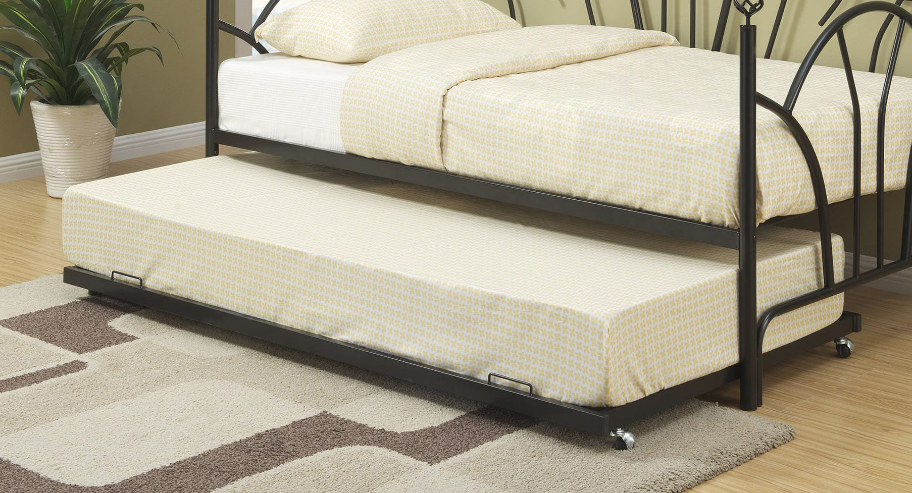 F9238 Black Trundle Bed By Poundex