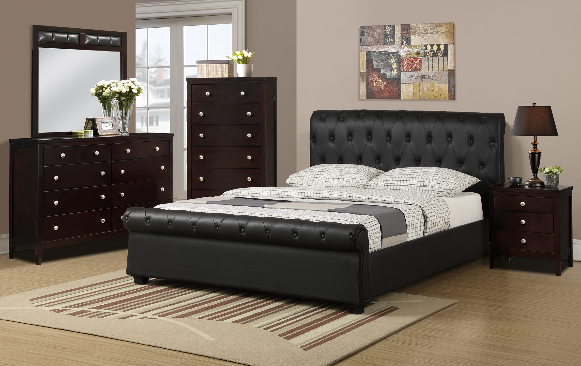 F9246 Black Bed by Poundex