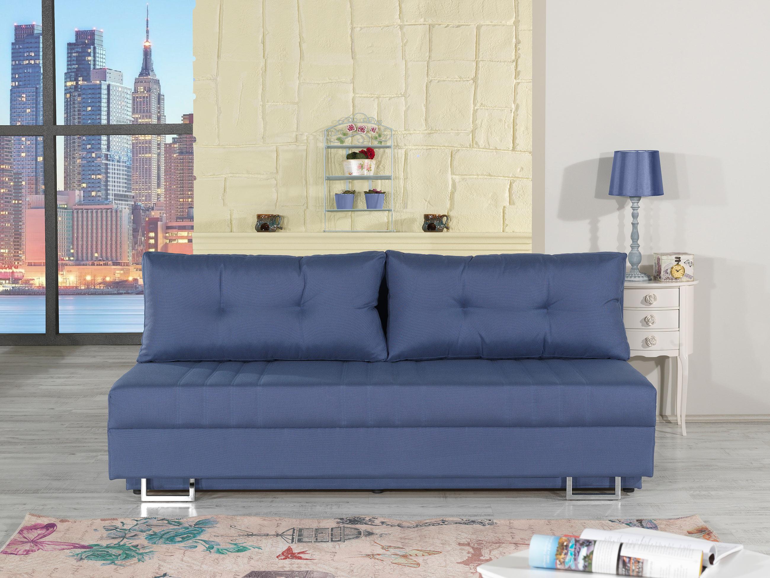 Flex Motion Blue Queen Sofa Bed w Storage by Casamode