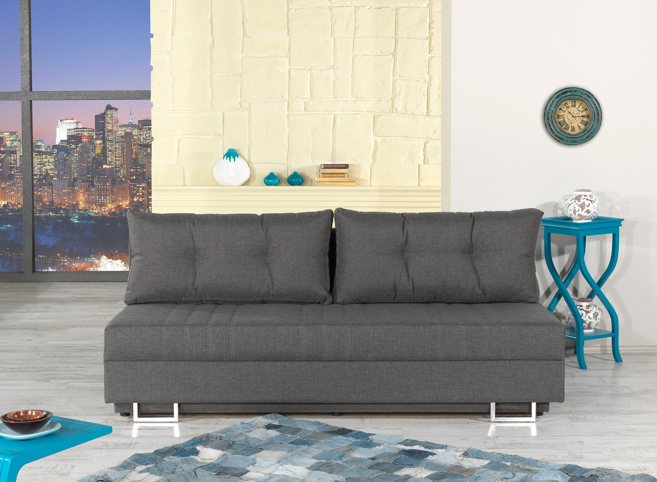 Flex Motion Gray Queen Sofa Bed w Storage by Casamode