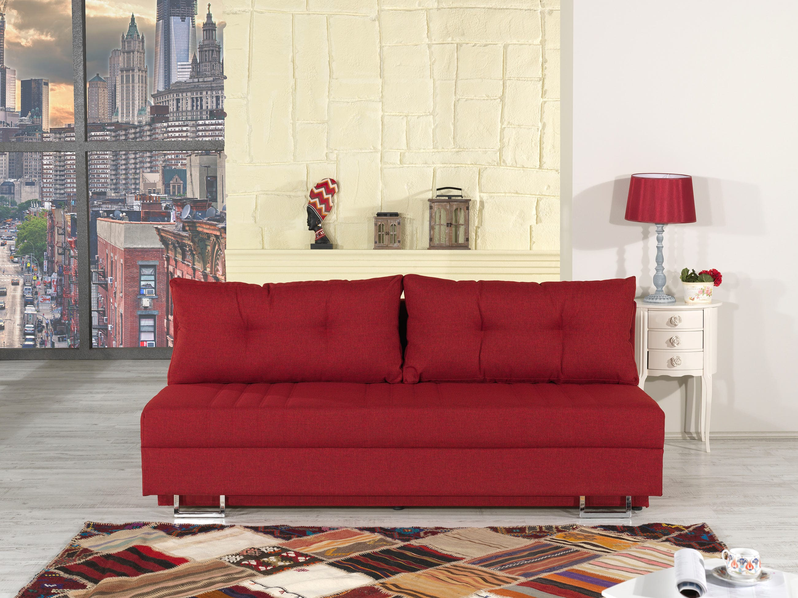 Flex Motion Red Queen Sofa Bed w Storage by Casamode