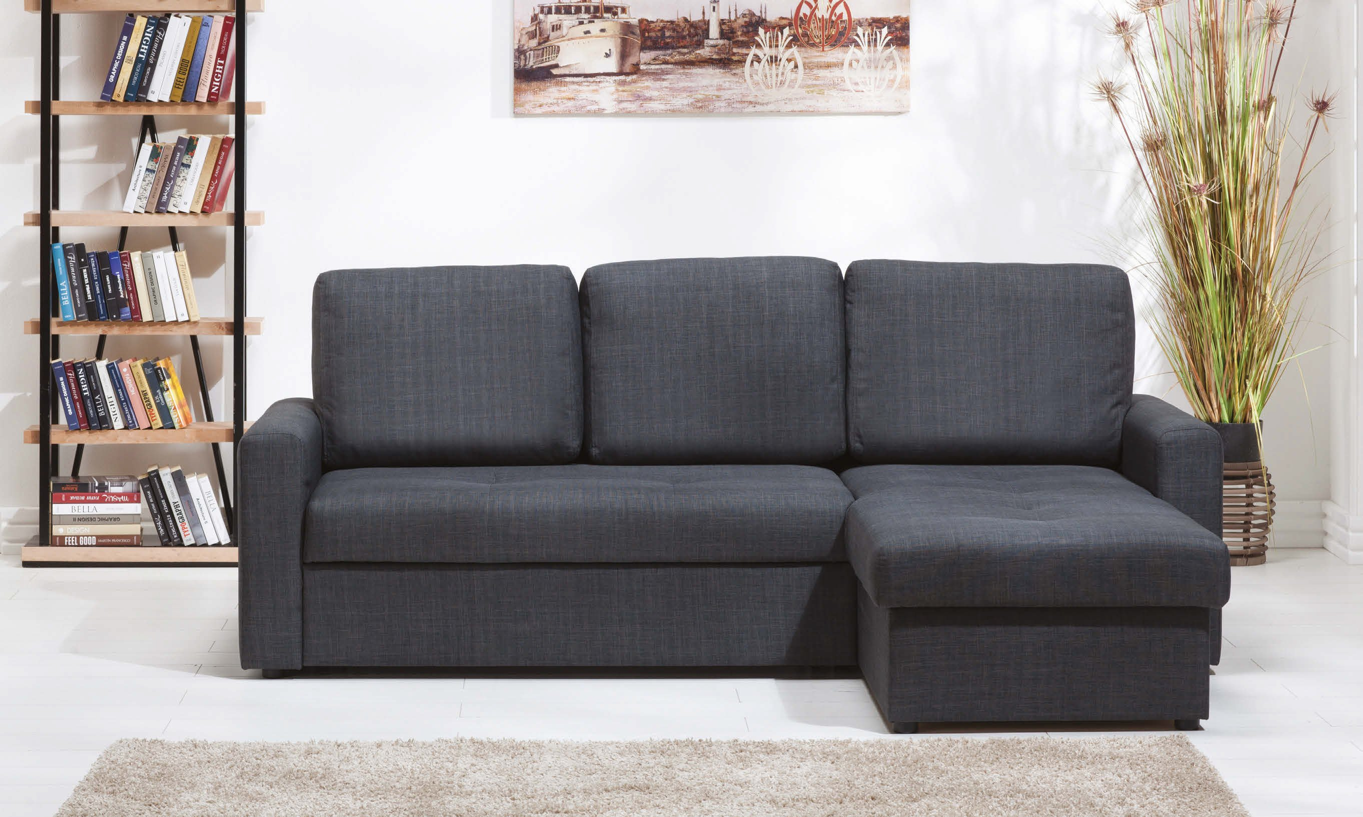 Fethiye Dark Grey Fabric Sectional Sofa by Sunset