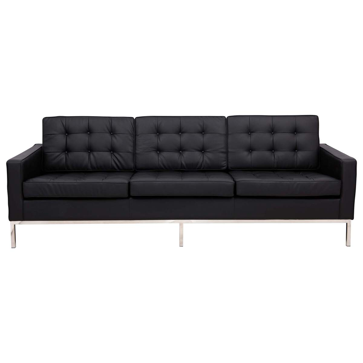 Florence Style Modern Black Leather Sofa by LeisureMod