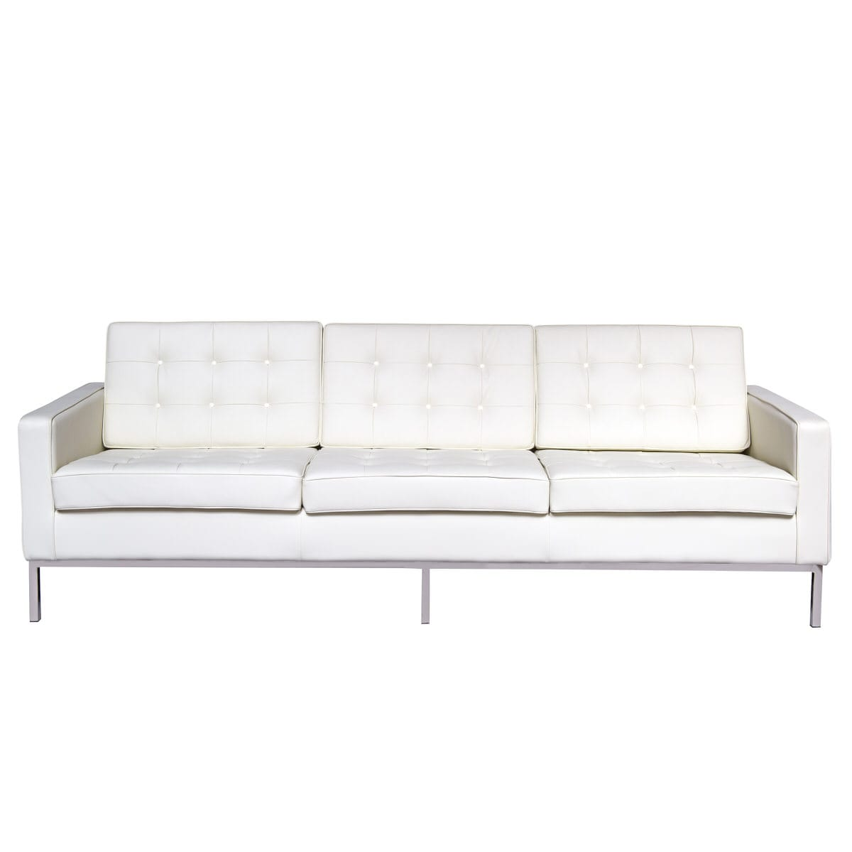 Florence Style Modern White Leather Sofa By Leisuremod