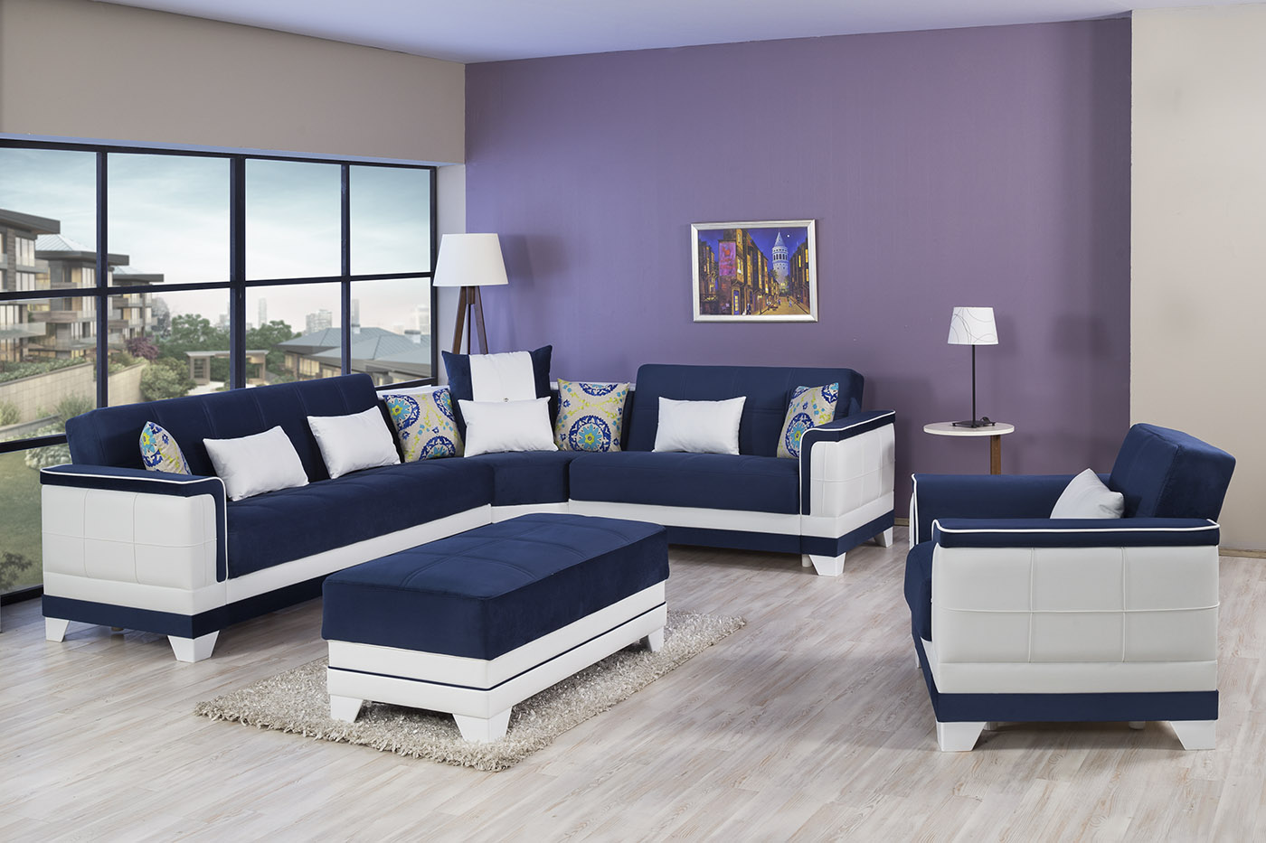 Four Seasons Riva Dark Blue Sectional Sofa By Casamode