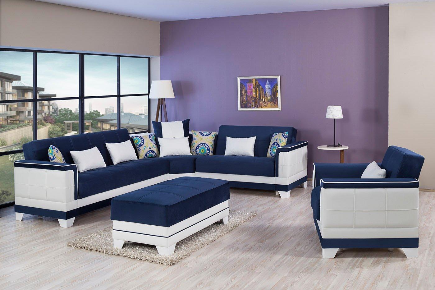 Four Seasons Riva Dark Blue Sectional Sofa By Casamode