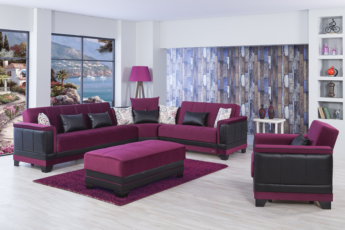 Four Seasons Eva Burgundy Sectional Sofa By Casamode