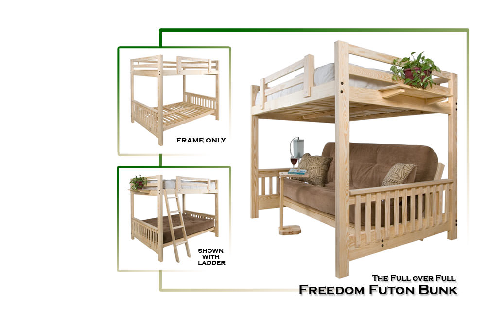 Freedom Futon Bunk Solid Pine Bed By Collegiate Furnishings