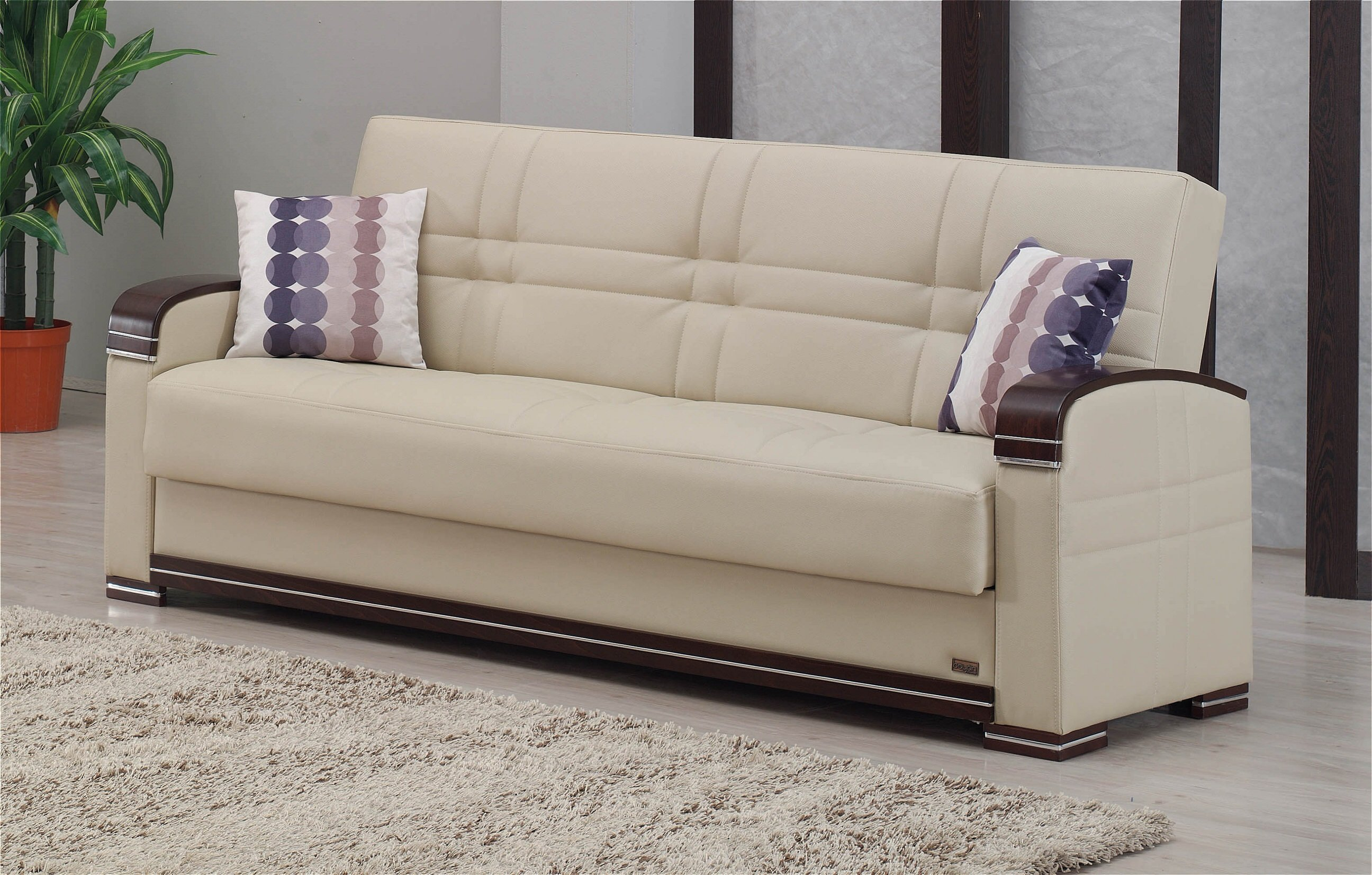 fulton cream leather sofa bed by empire furniture usa. Black Bedroom Furniture Sets. Home Design Ideas