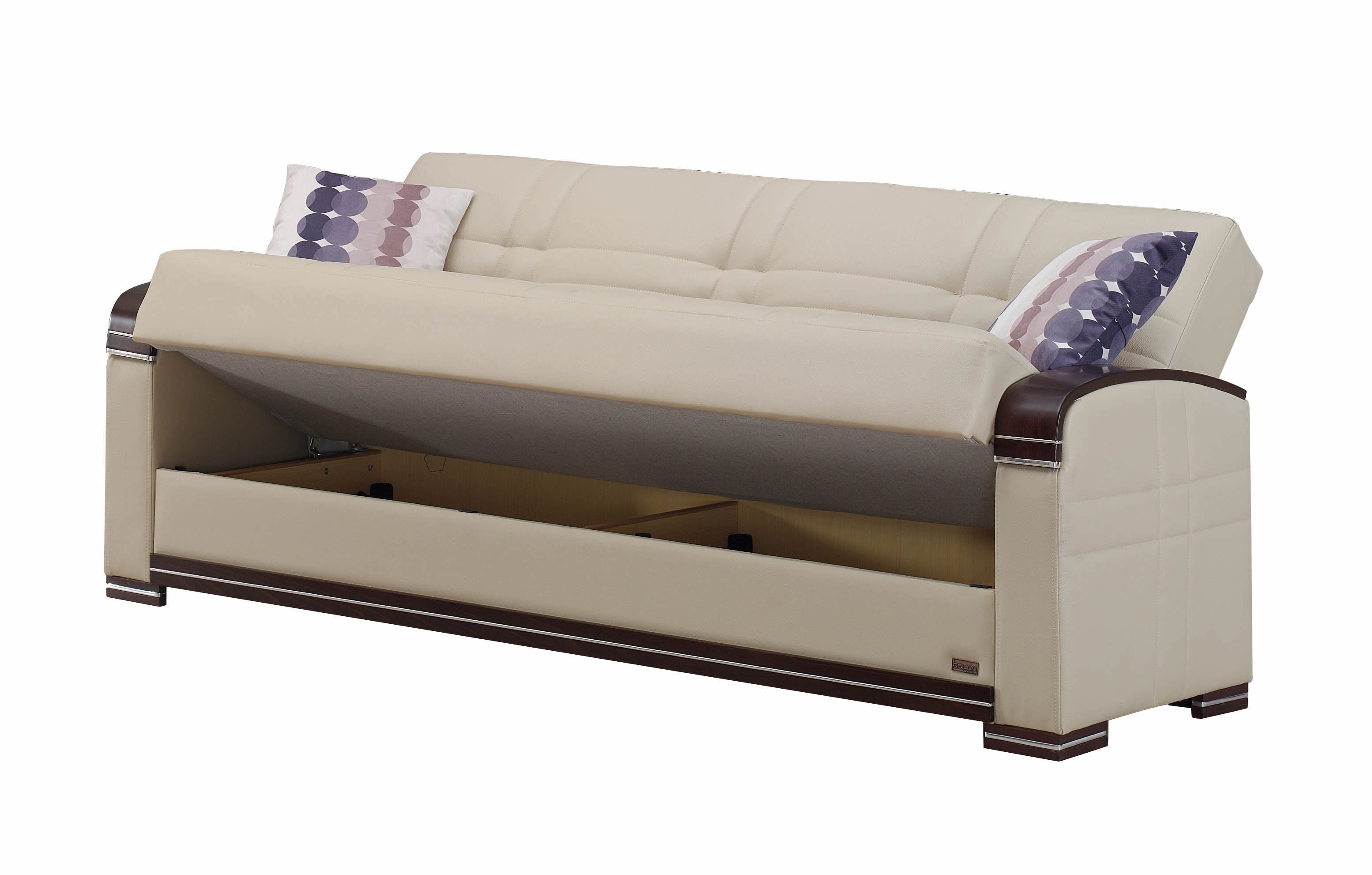 Fulton Cream Leather Sofa Bed by Empire Furniture USA