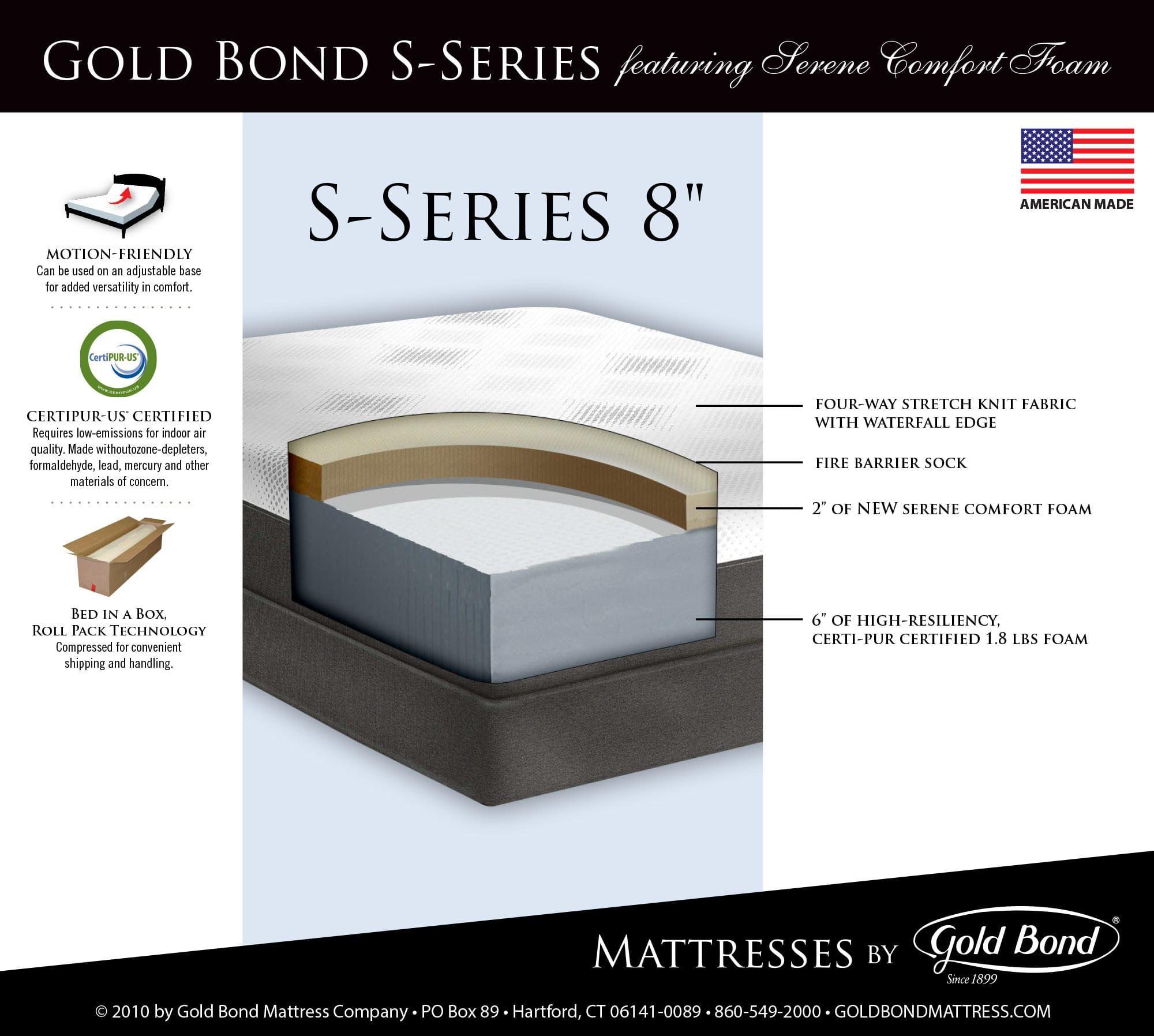 S Series 8 Inch Serene fort Foam Mattress by Gold Bond