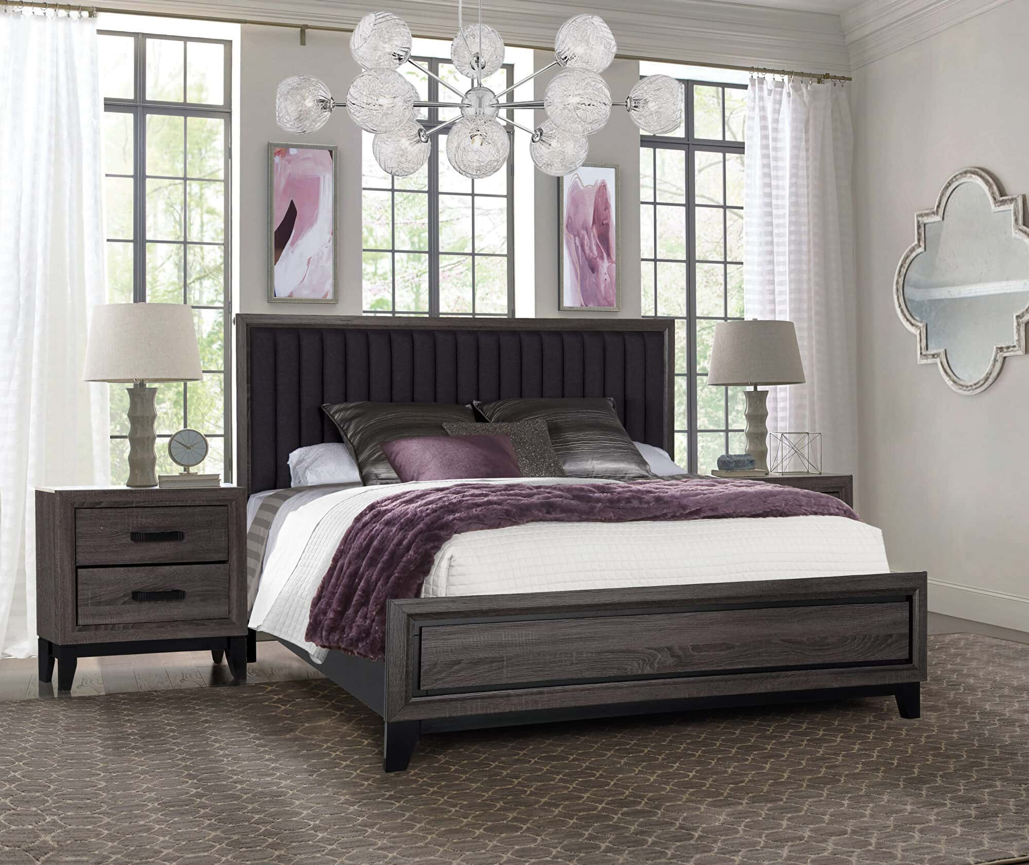 Laura Foil Gray Marble Bedroom Set By Global Furniture
